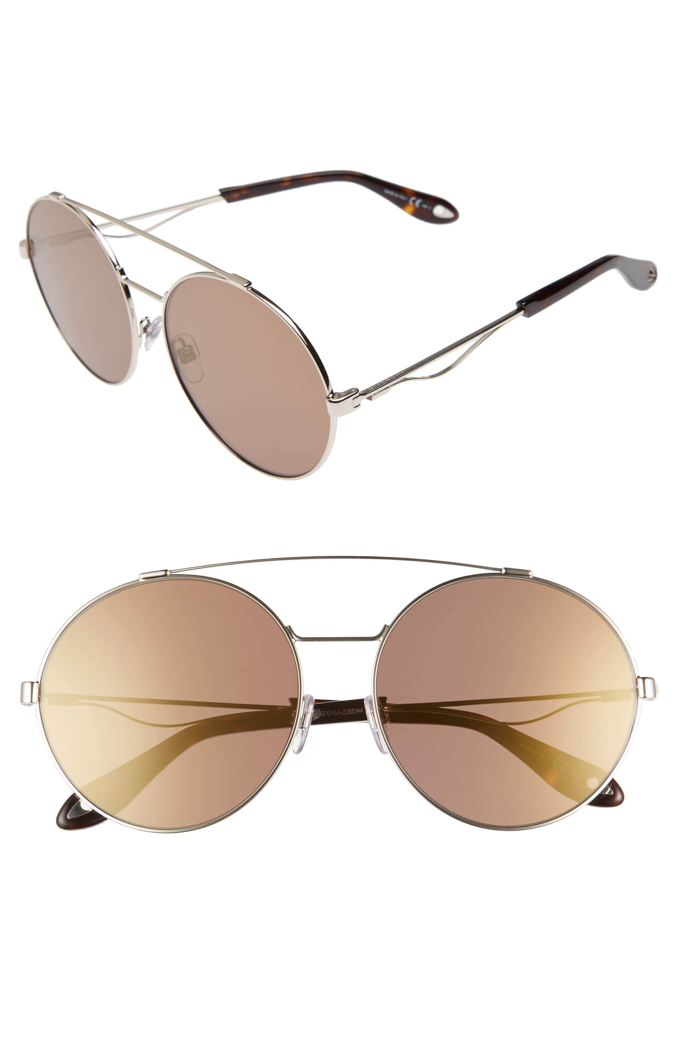 62mm Oversize Round Sunglasses,                             Main thumbnail 1, color,                             Light Gold
