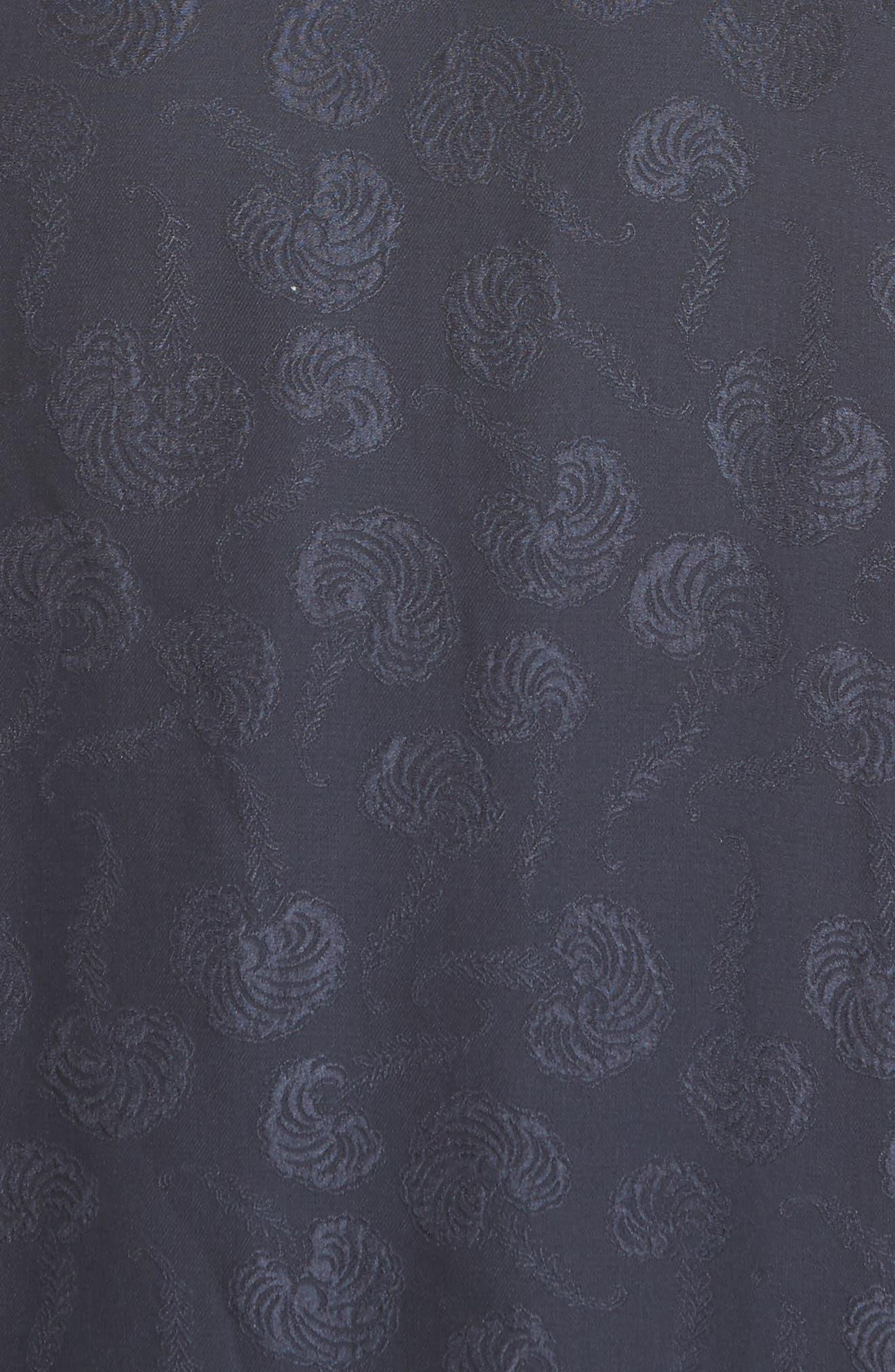 Barbell Detail Silk Jacquard Midi Dress,                             Alternate thumbnail 5, color,                             Midnight