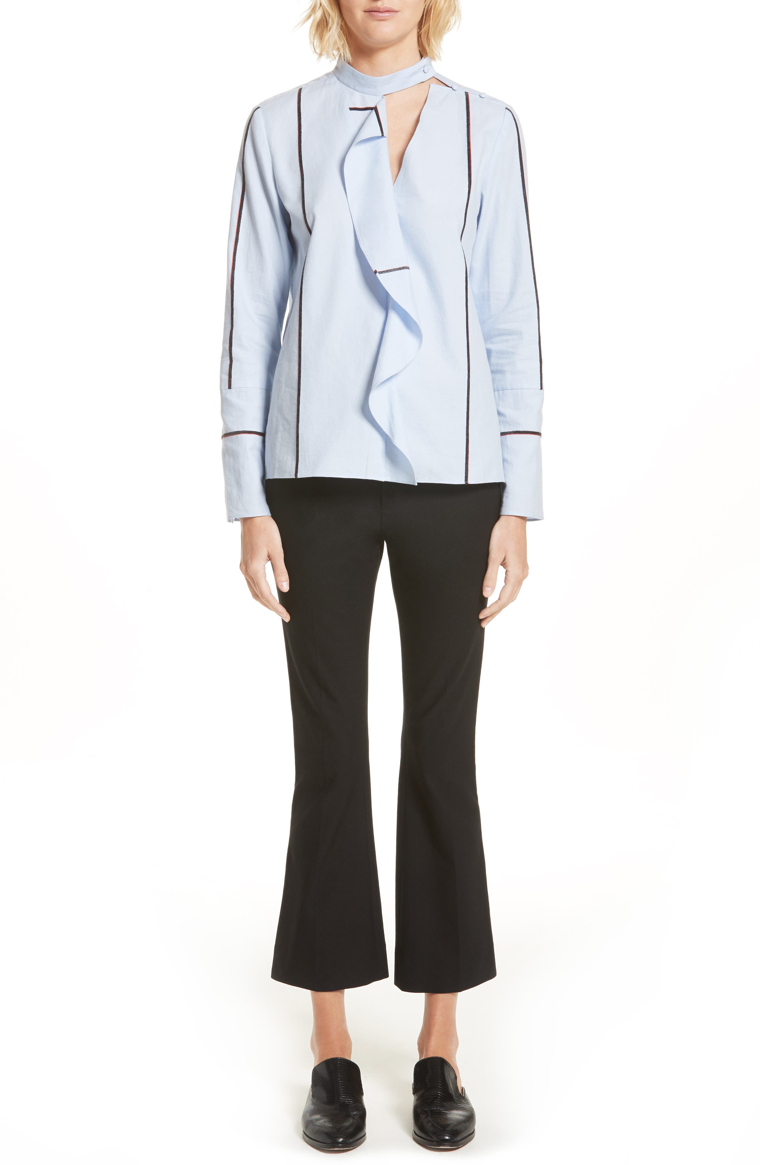 Stripe Cascade Ruffle Shirt,                             Alternate thumbnail 2, color,                             Oxford