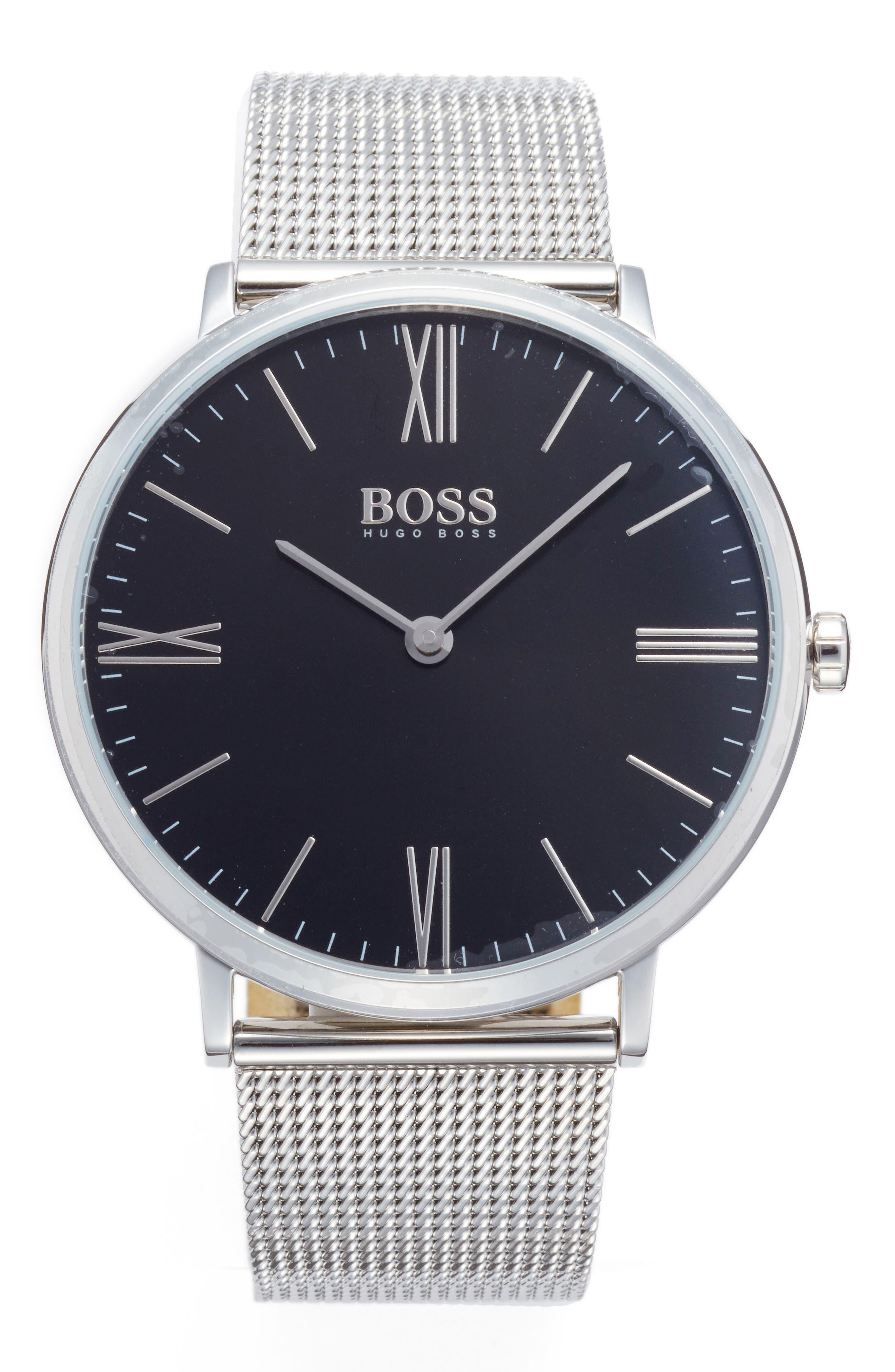 BOSS Slim Jackson Mesh Strap Watch, 40mm