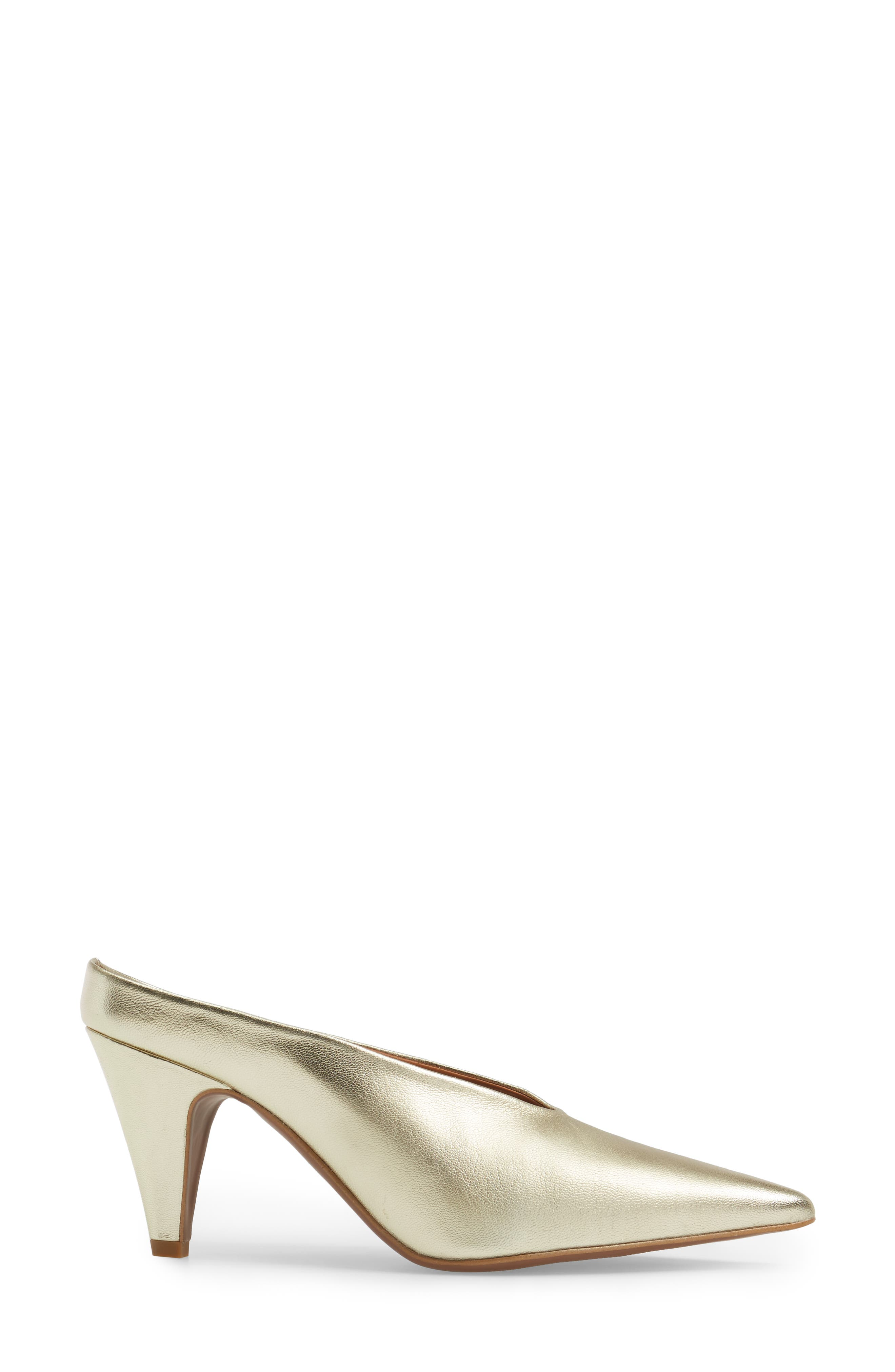 Juicy Pointy Toe Pump,                             Alternate thumbnail 3, color,                             Gold Leather