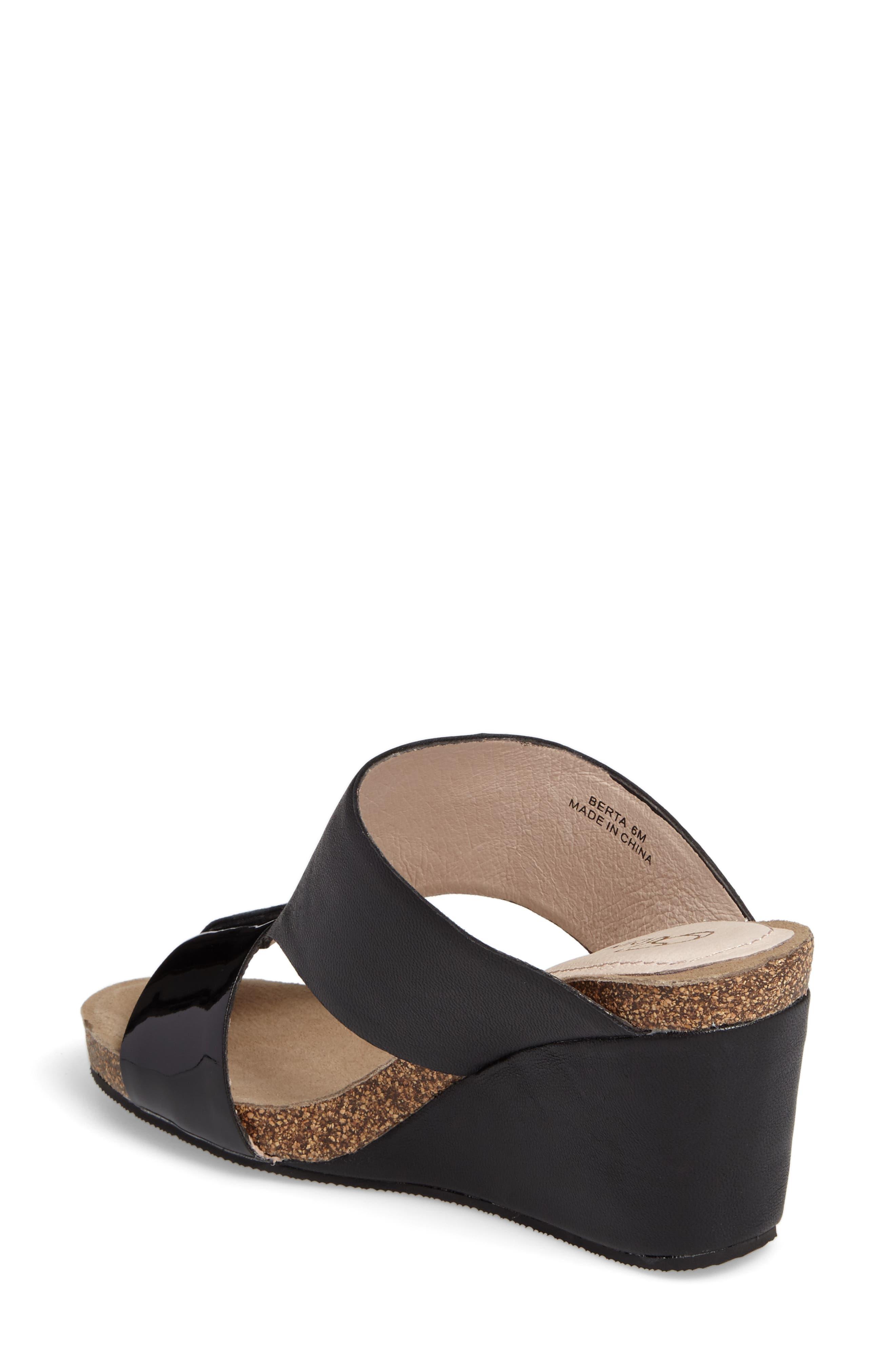 Berta Wedge Sandal,                             Alternate thumbnail 2, color,                             Black Leather