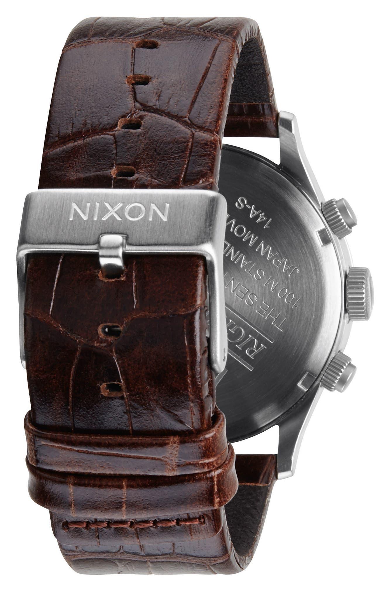 Alternate Image 2  - Nixon 'Sentry Chrono' Embossed Leather Strap Watch, 42mm