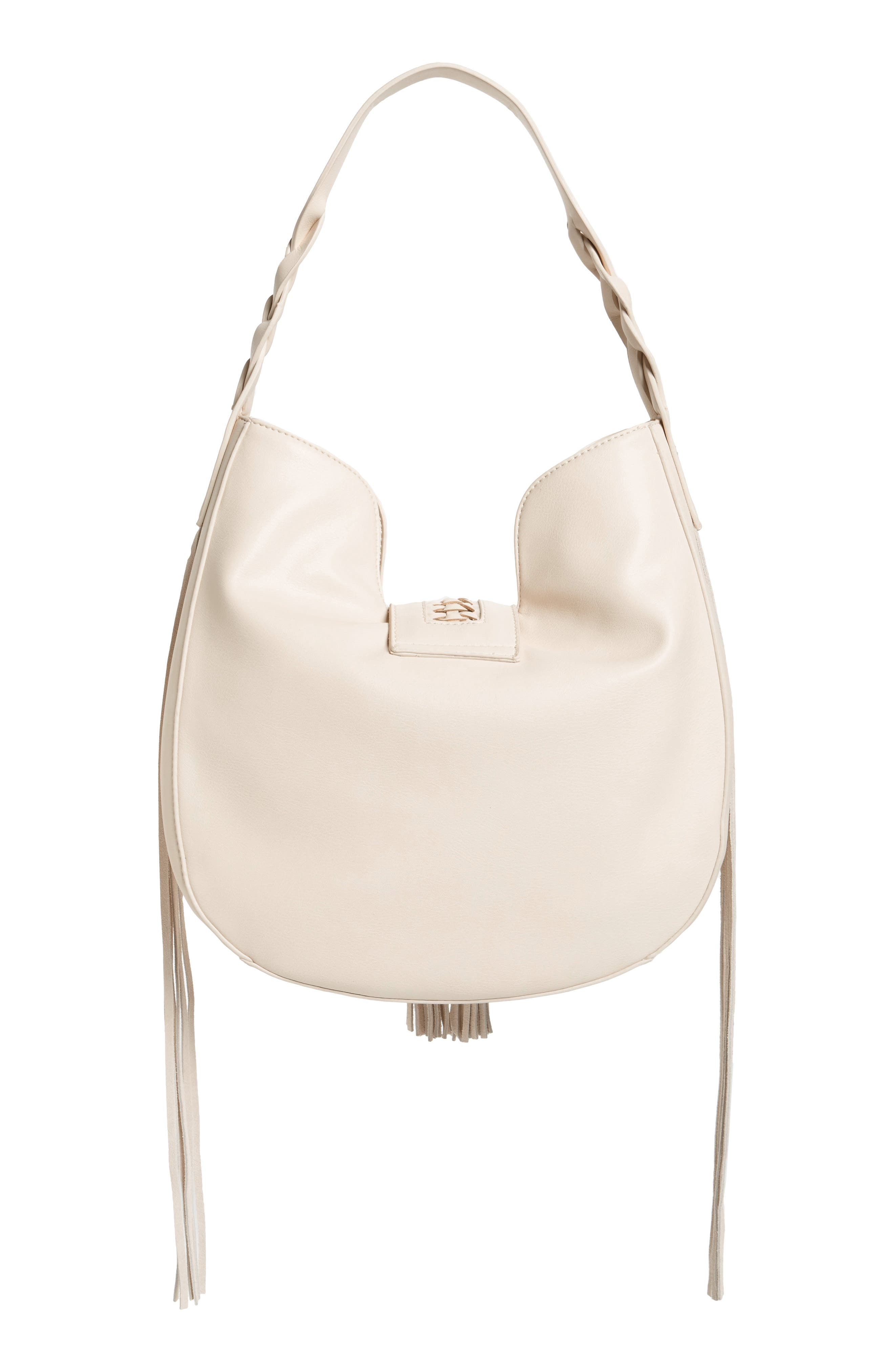 Lace-Up Tassel Faux Leather Hobo,                             Alternate thumbnail 3, color,                             White