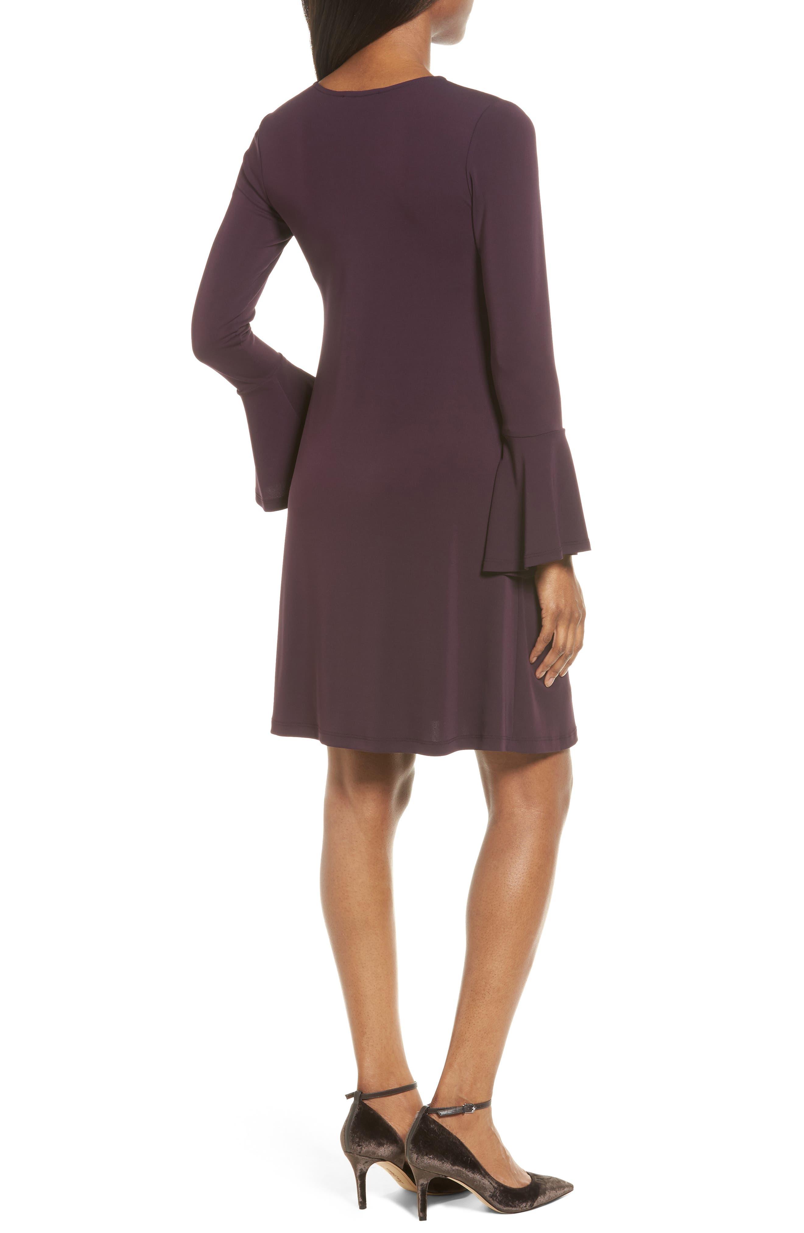 Taylor Flare Sleeve A-Line Dress,                             Alternate thumbnail 2, color,                             Eggplant