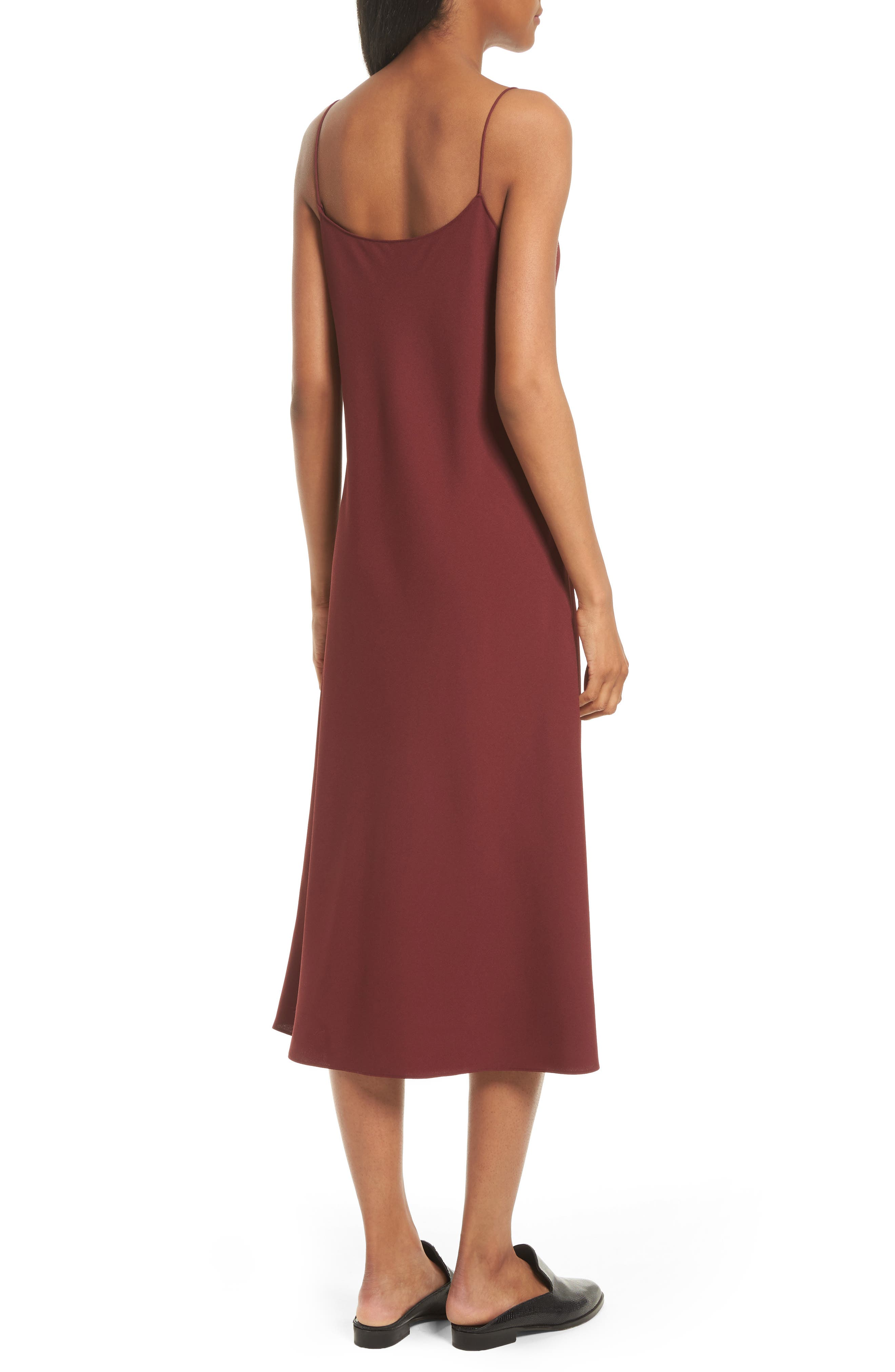 Telson Rosina Crepe Slipdress,                             Alternate thumbnail 3, color,                             Chili Red