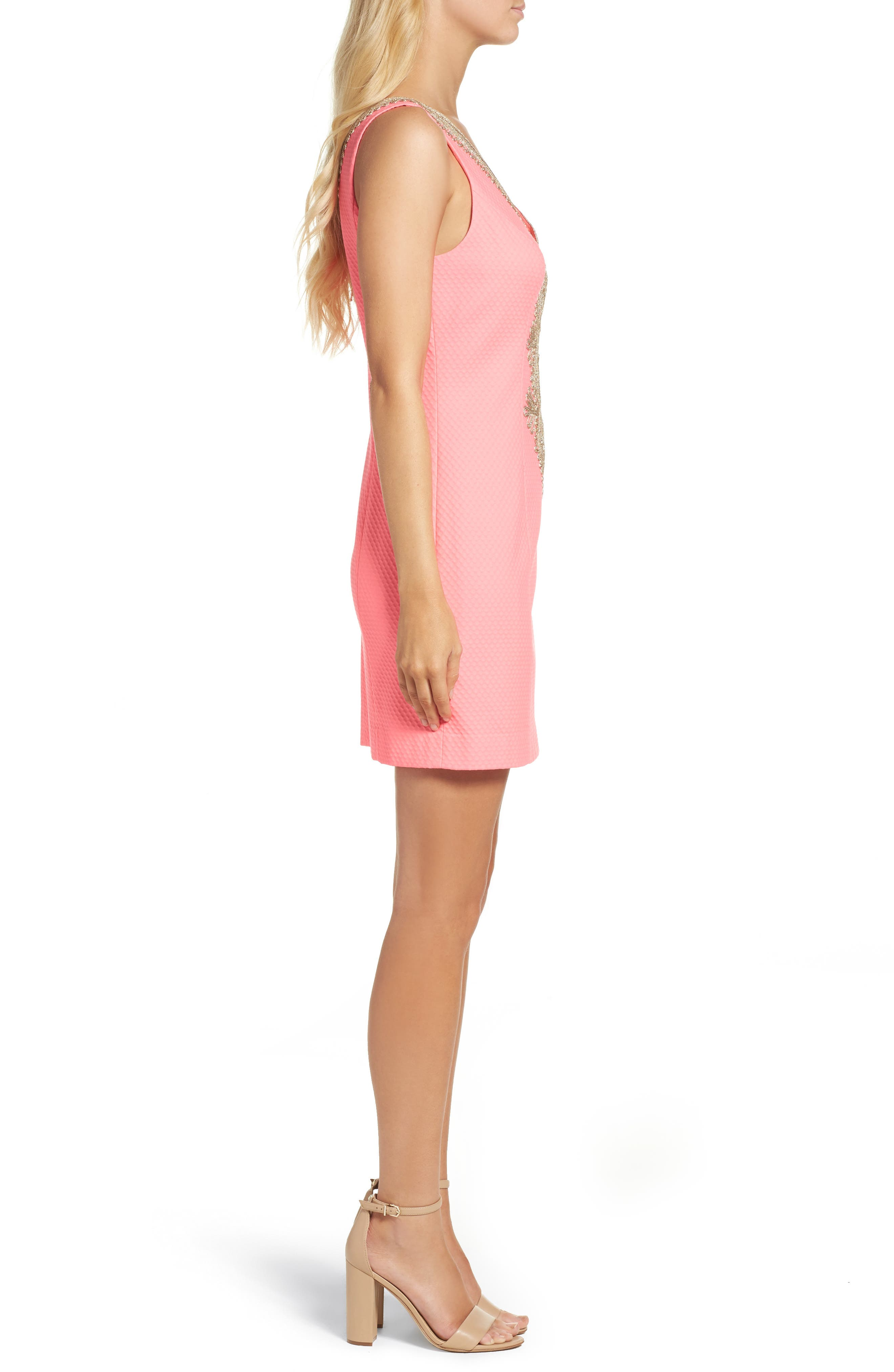 Junie Shift Dress,                             Alternate thumbnail 3, color,                             Coral Reef
