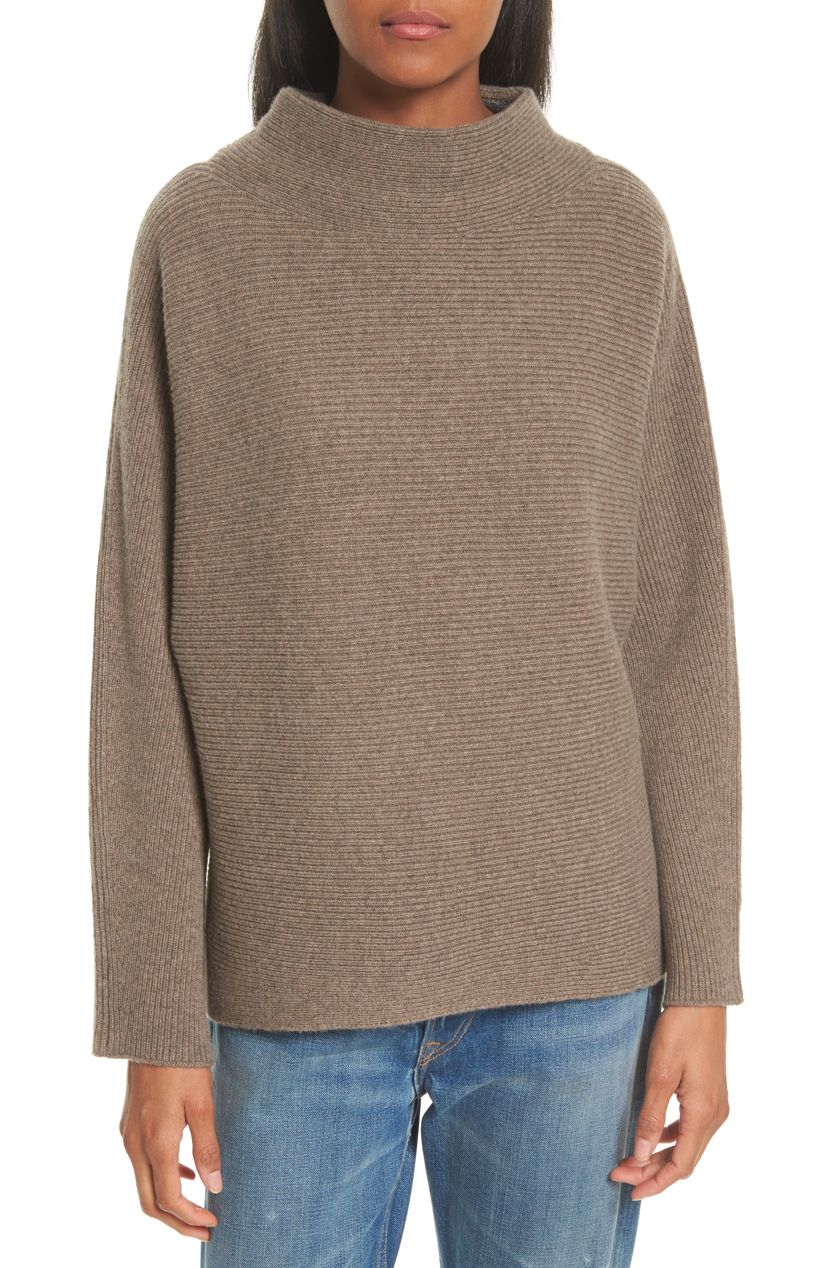 Ribbed Wool & Cashmere Sweater,                         Main,                         color, Heather Toast