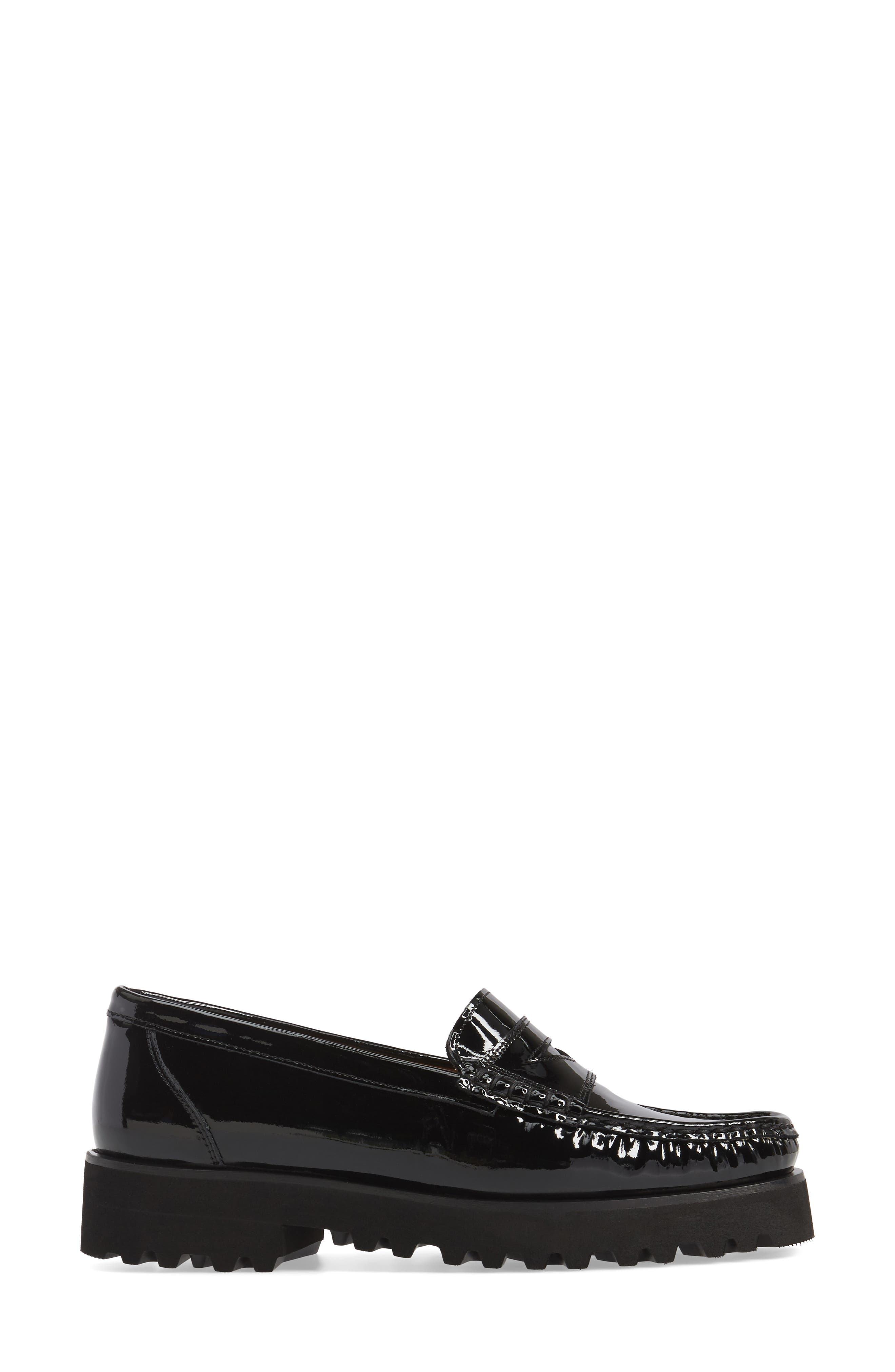 Rita Platform Penny Loafer,                             Alternate thumbnail 3, color,                             Onyx Patent