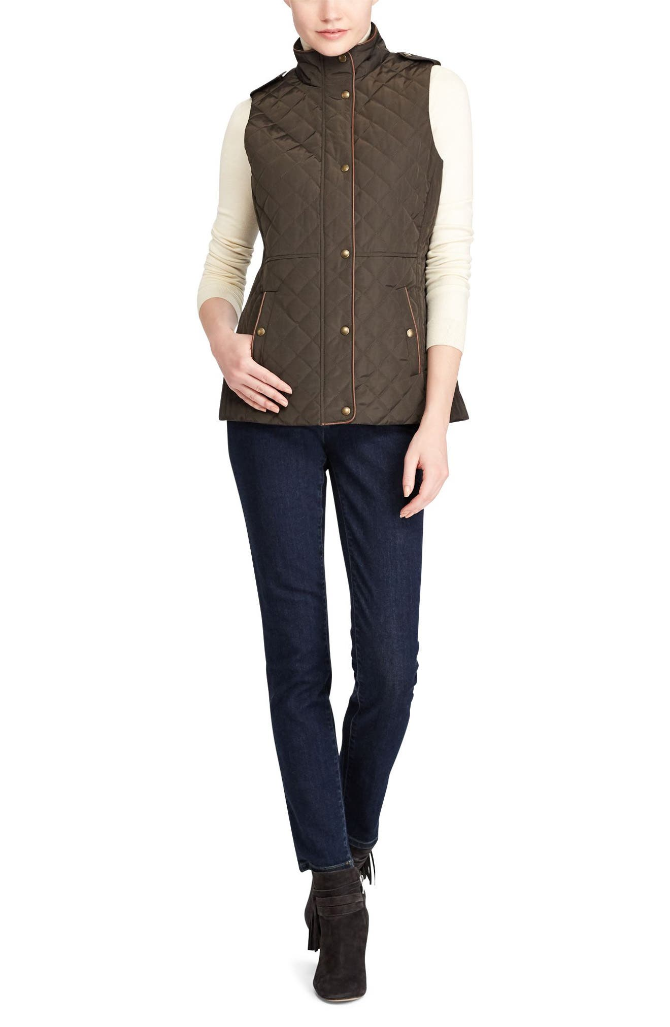 Alternate Image 2  - Lauren Ralph Lauren Faux Leather Trim Quilted Vest (Regular & Petite)
