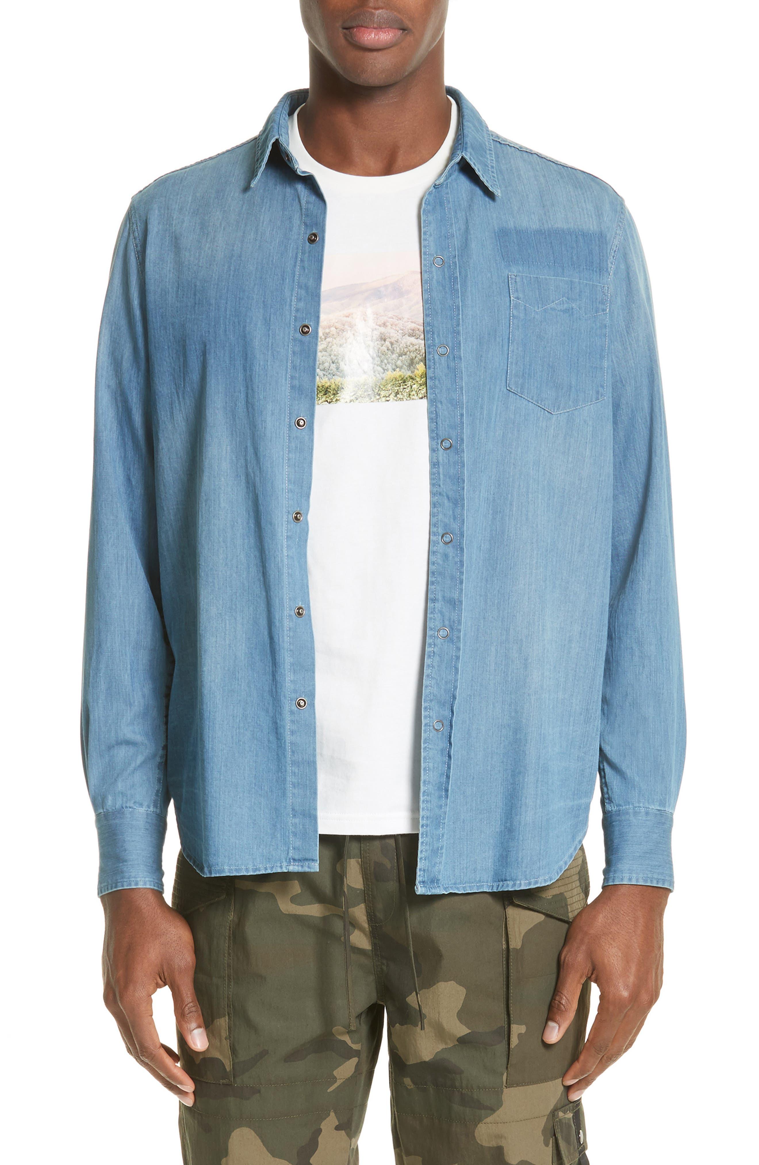 Eastern Denim Sport Shirt,                         Main,                         color, Denim