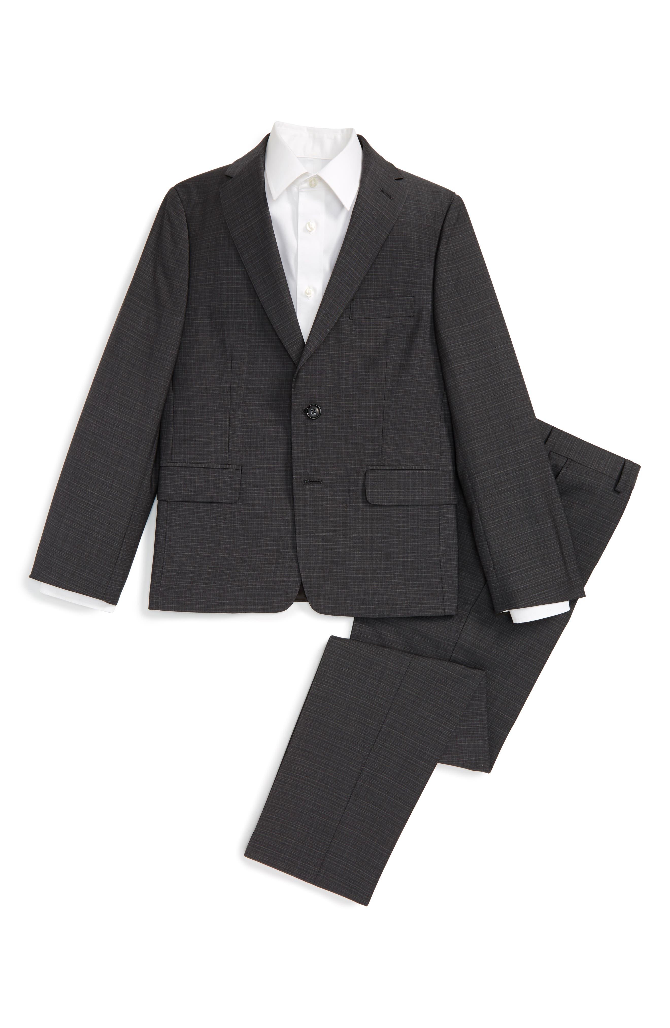 Michael Kors Check Wool Suit (Big Boys)