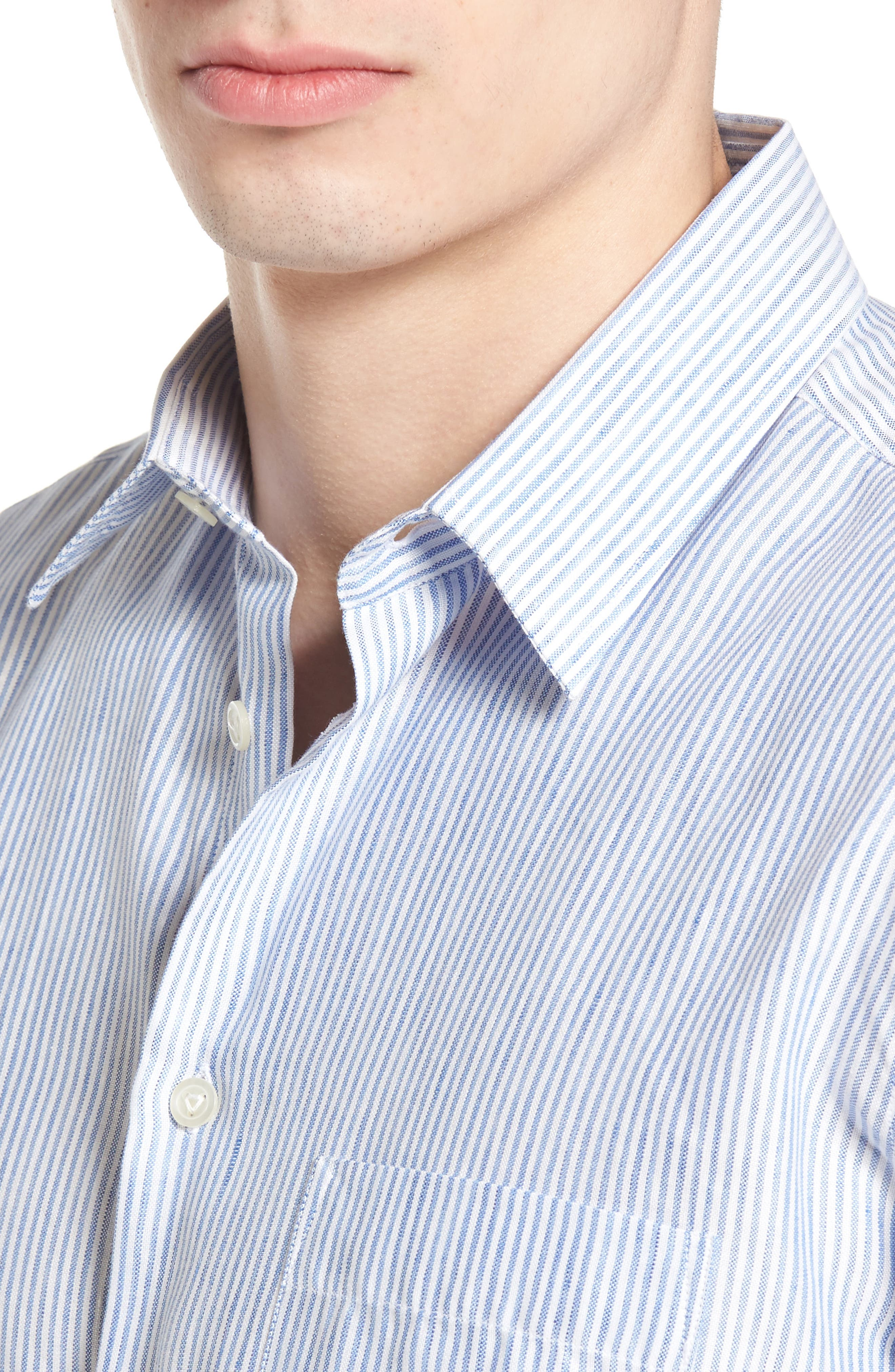 Stripe Linen Blend Sport Shirt,                             Alternate thumbnail 2, color,                             Sky Blue