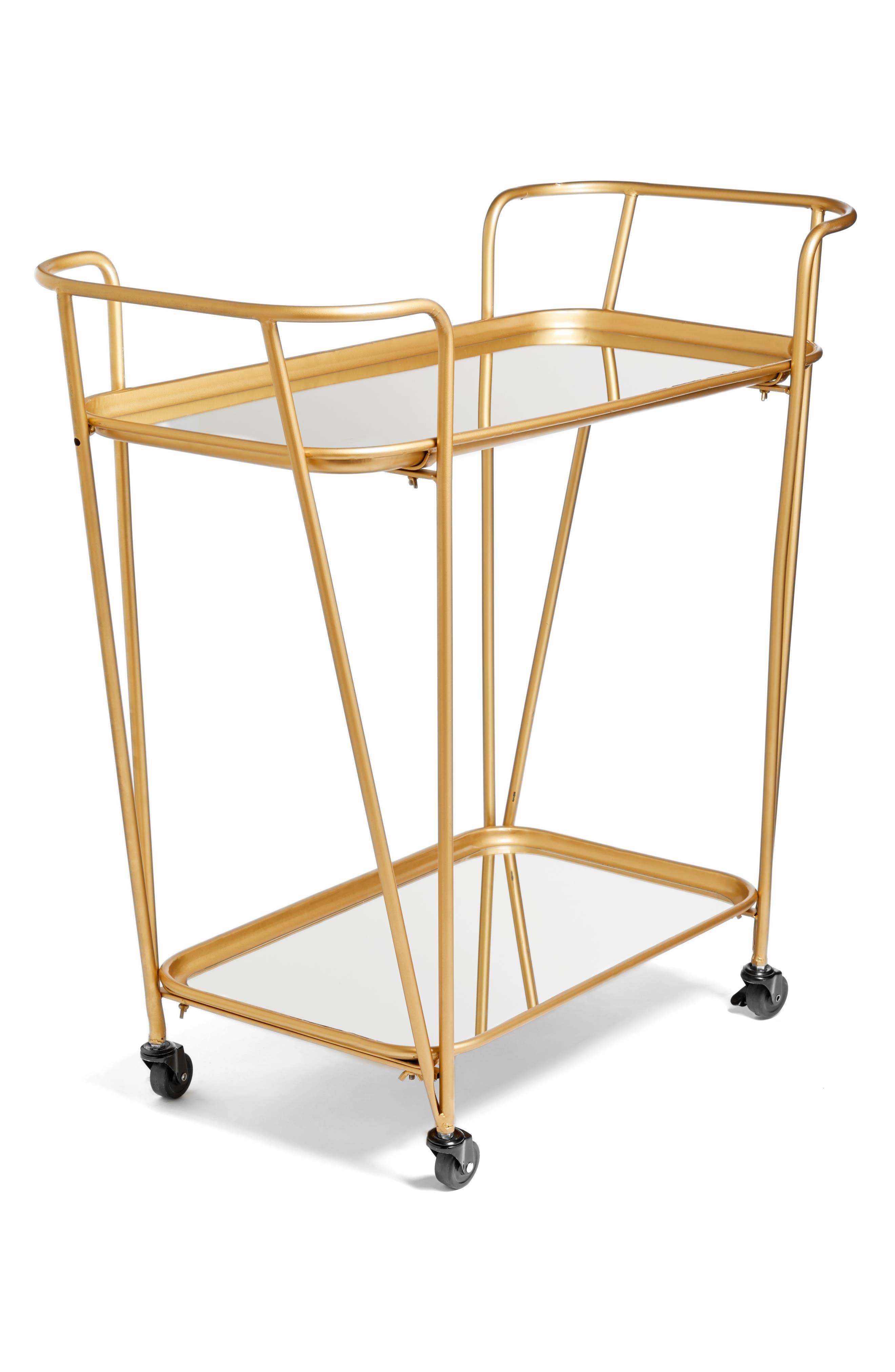 Metal Mirrored Rolling Bar Cart,                         Main,                         color, Metallic Gold