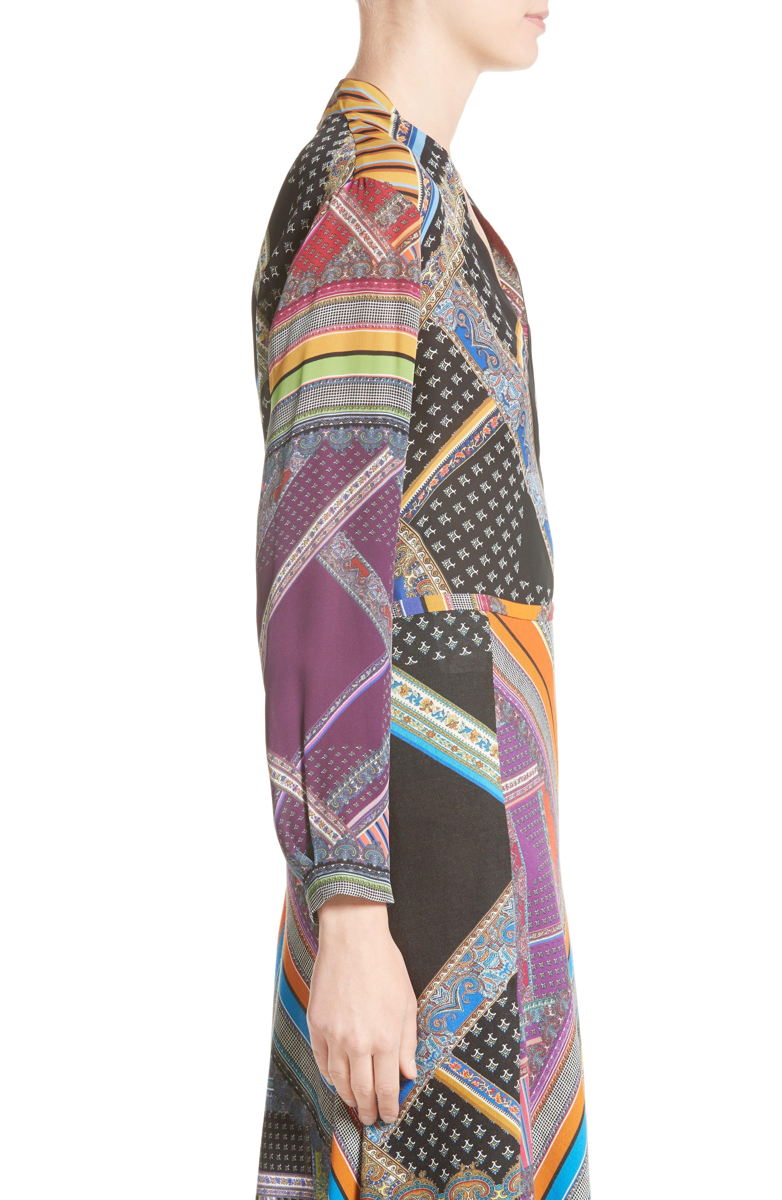 Alternate Image 5  - Etro Patchwork Print Silk Faux Wrap Blouse