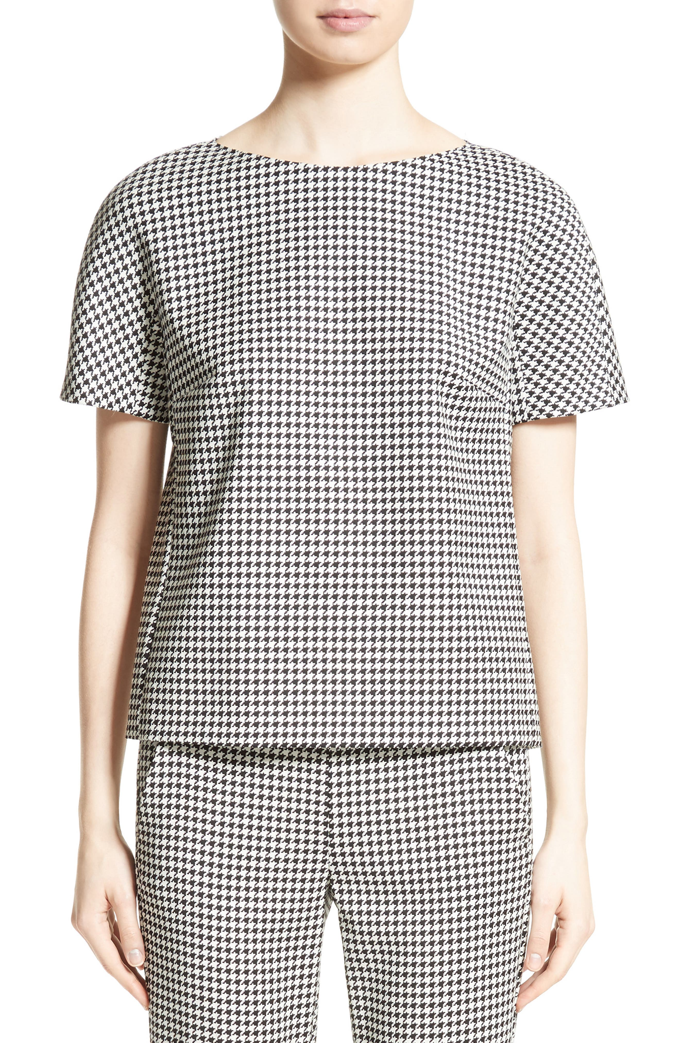 Ares Wool Blend Houndstooth Top,                         Main,                         color, Black