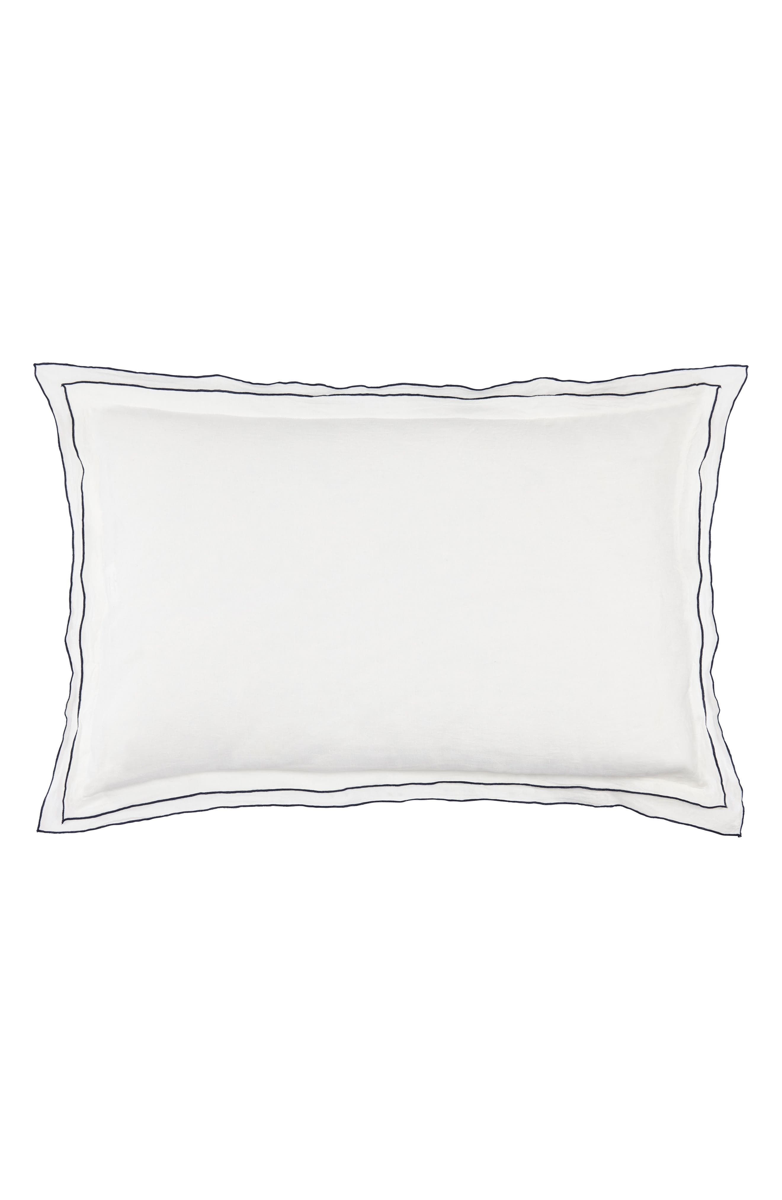 Biarritz Linen Sham,                         Main,                         color, White/ Indigo