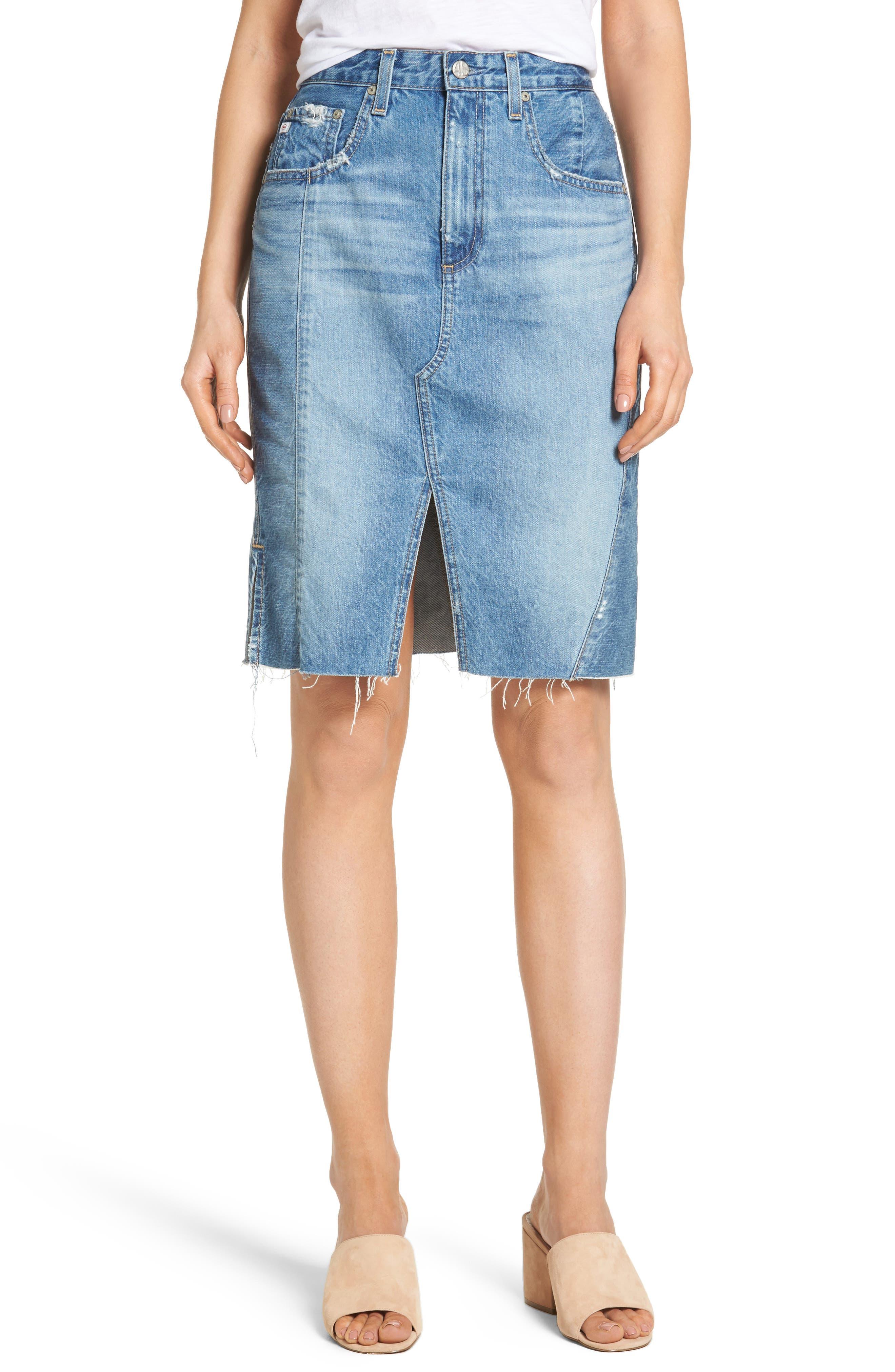 Alternate Image 1 Selected - AG The Emery High Waist Denim Skirt (18 Years Blue Fawn)