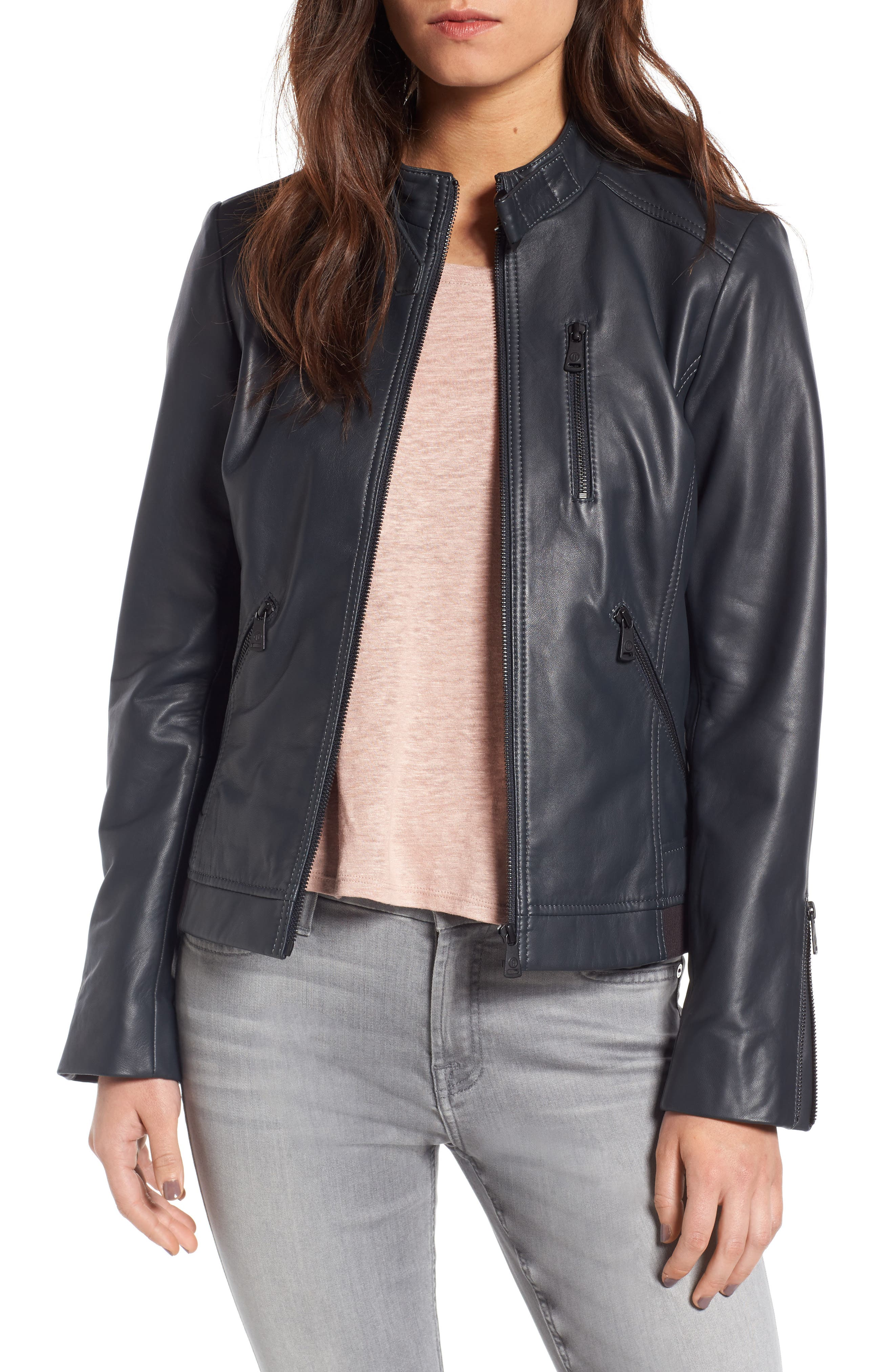 Bernardo Jetta Knit Detail Leather Scuba Jacket (Regular & Petite)