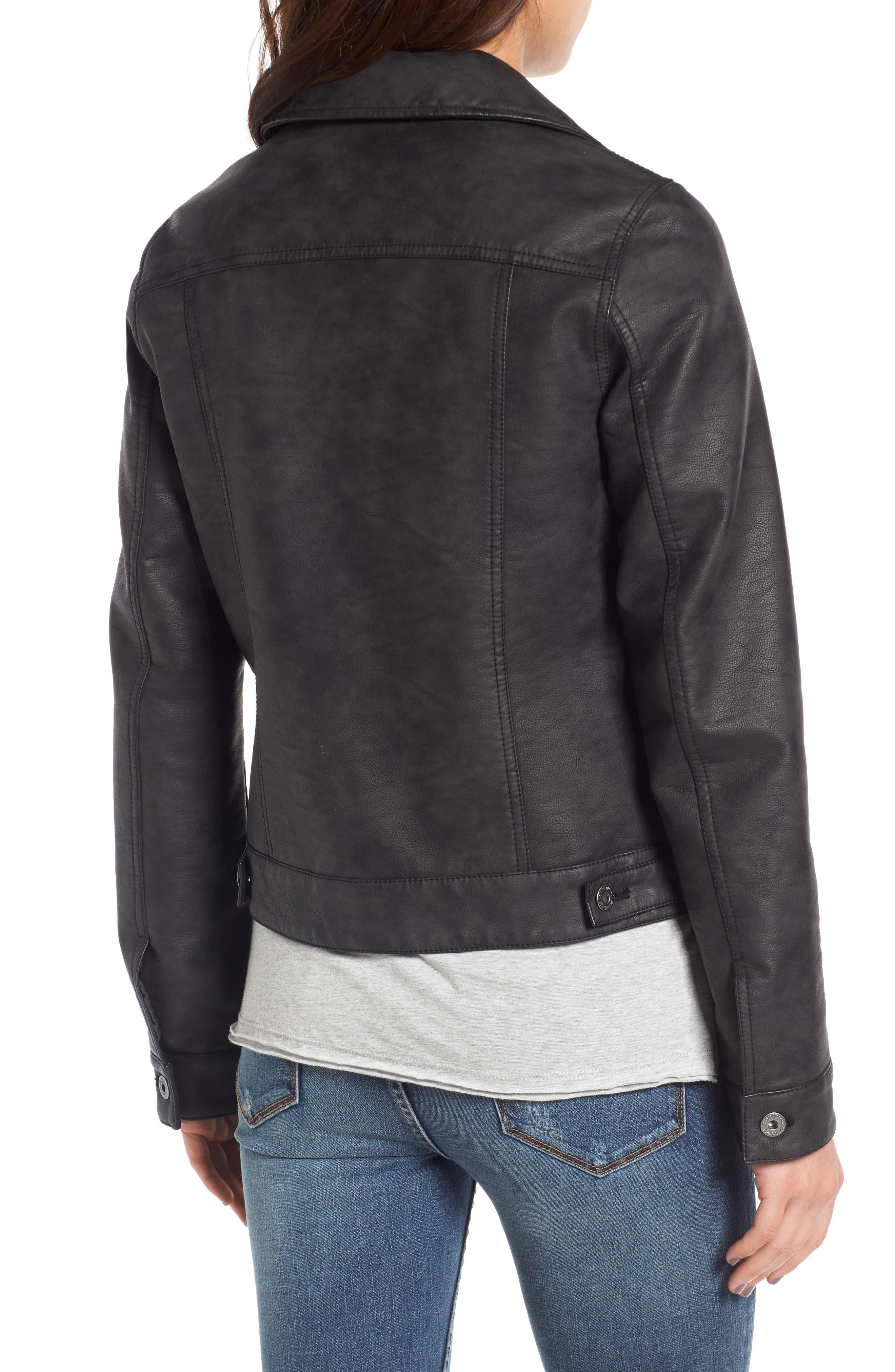 Faux Leather Trucker Jacket,                             Alternate thumbnail 2, color,                             Black
