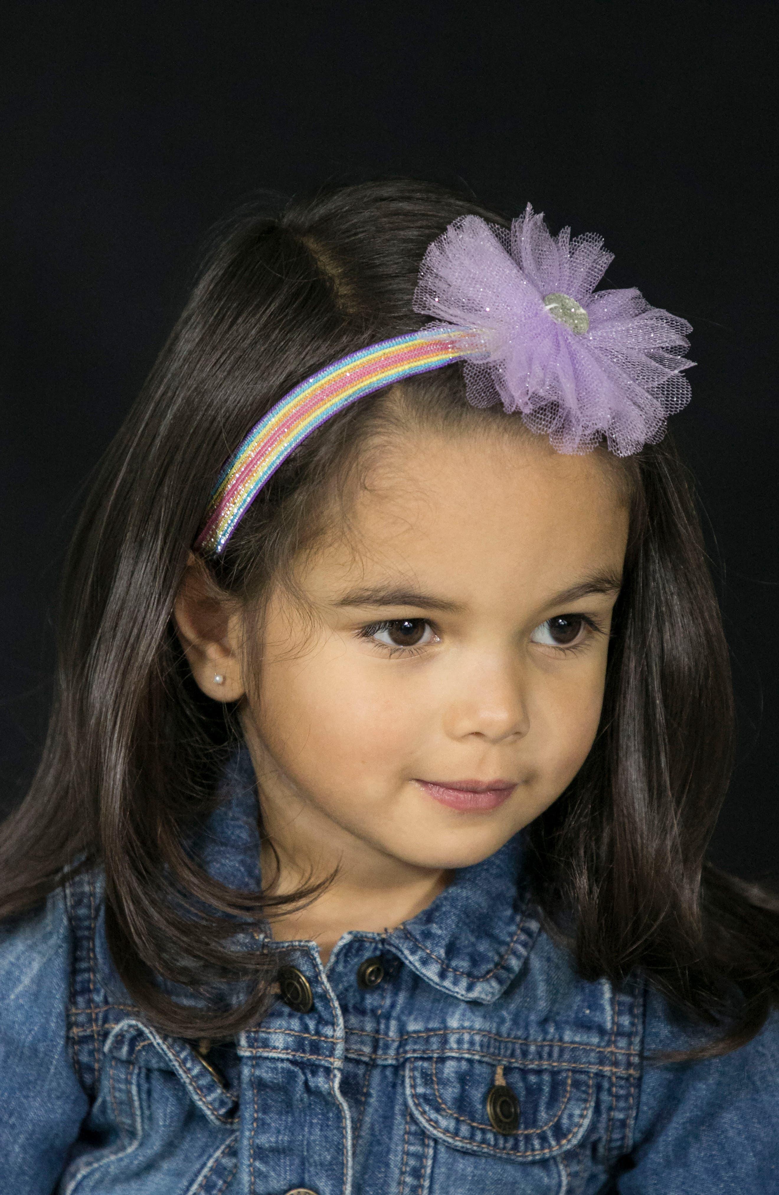 Embellished Glitter Headband,                             Alternate thumbnail 3, color,                             Lavender