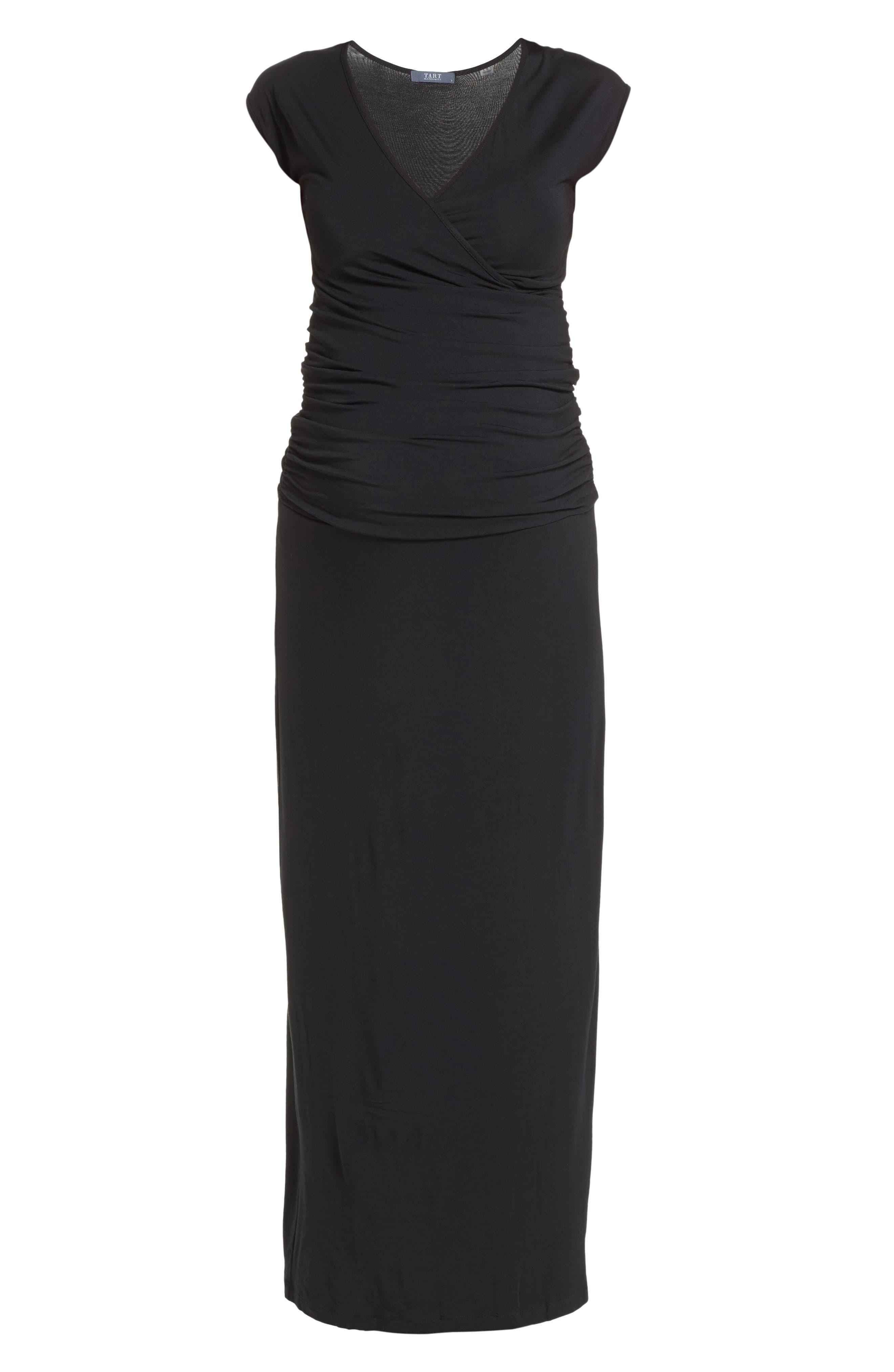'Vita' Maternity Maxi Dress,                             Alternate thumbnail 6, color,                             Black
