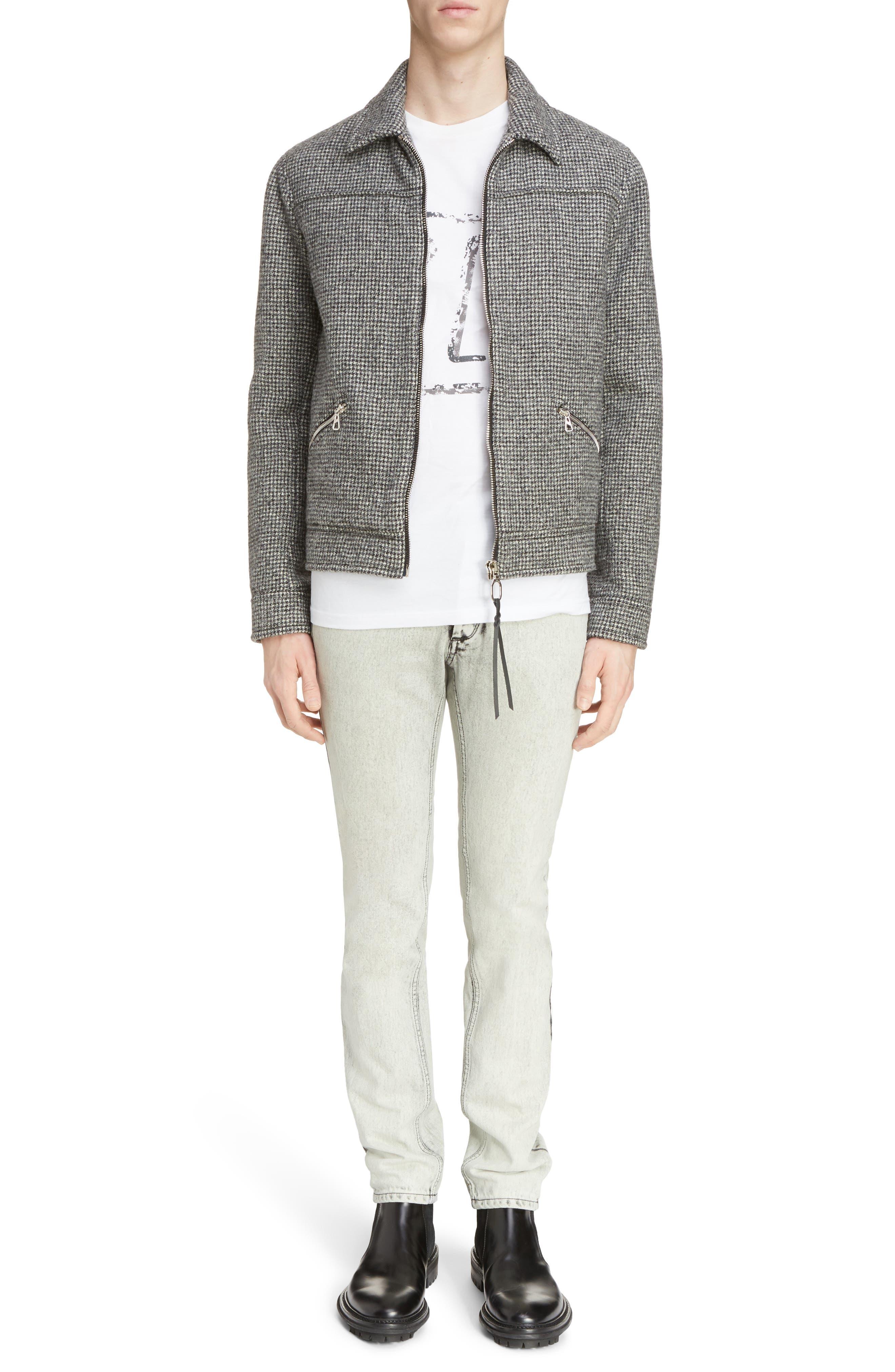 Houndstooth Wool Zip Front Jacket,                             Alternate thumbnail 6, color,                             Dark Grey