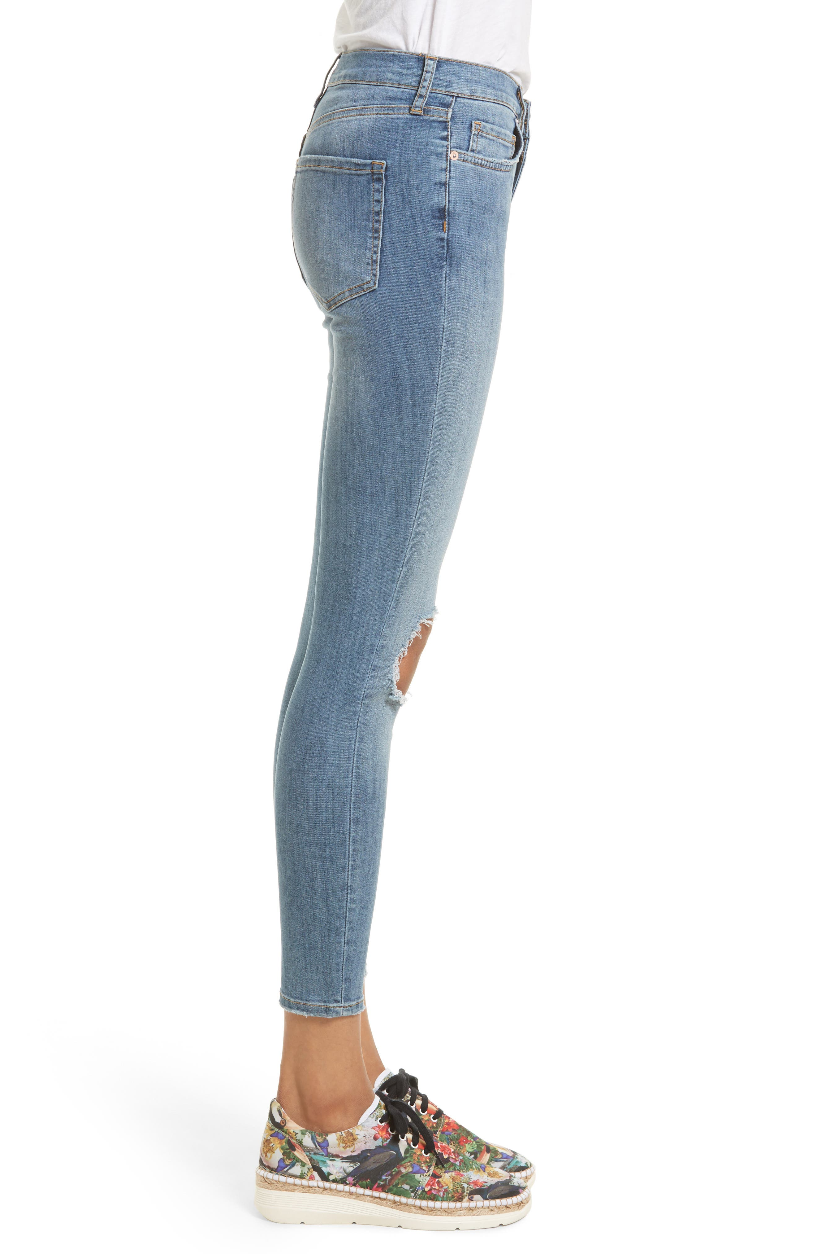 Alternate Image 3  - Free People High Rise Busted Knee Skinny Jeans (Light Denim)
