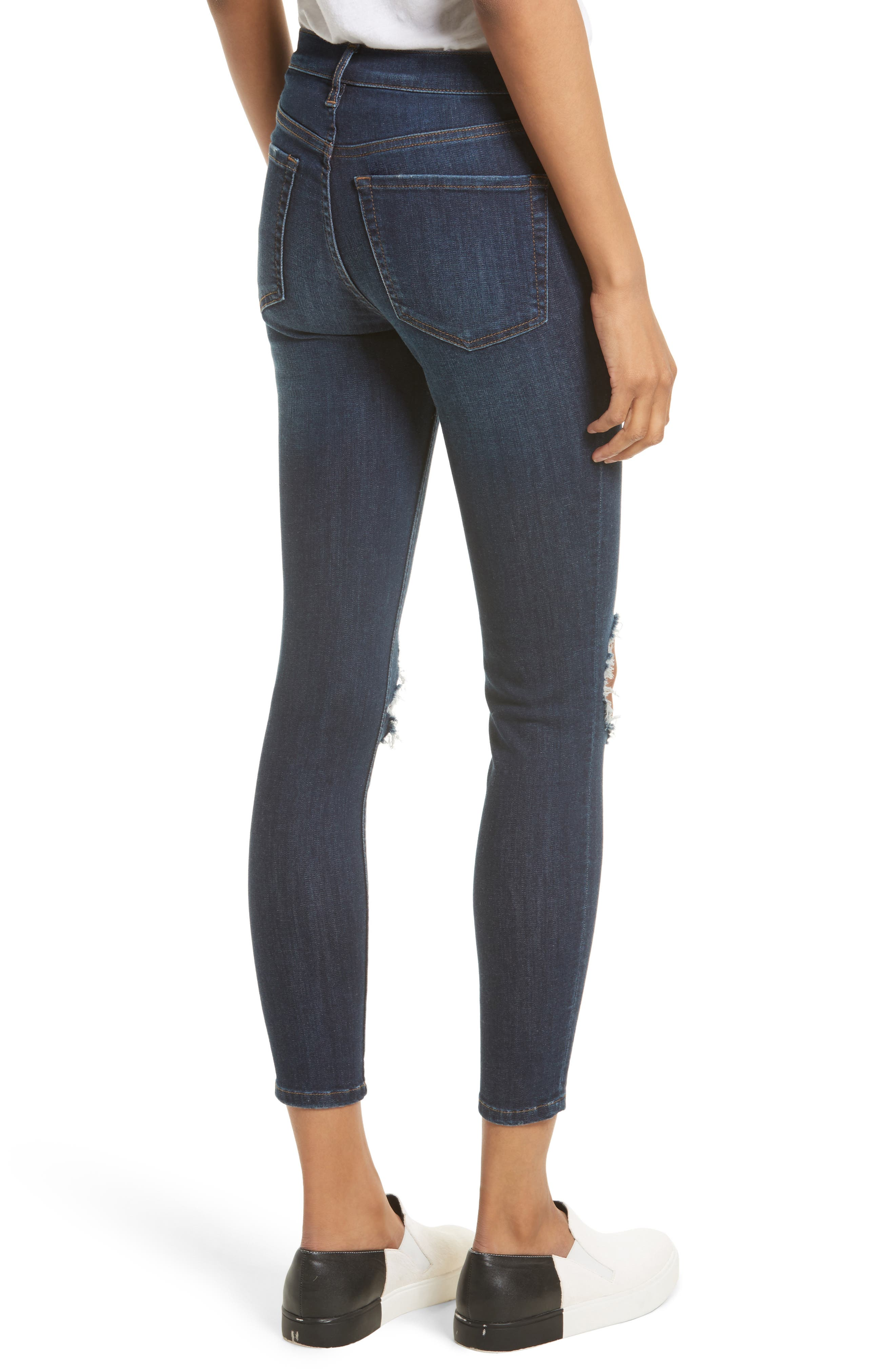 Alternate Image 3  - Free People High Rise Busted Knee Skinny Jeans (Dark Blue)