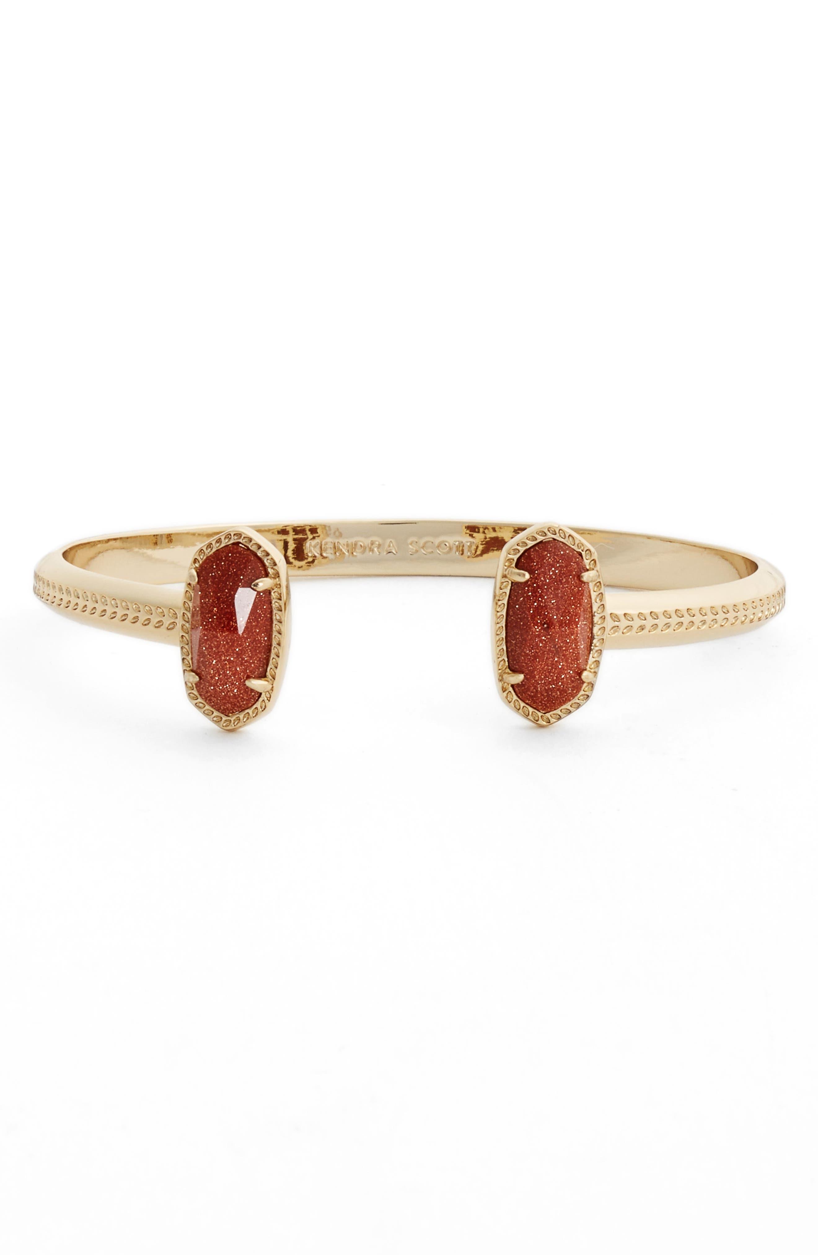 Elton Station Cuff Bracelet,                             Main thumbnail 1, color,                             Goldstone/ Gold