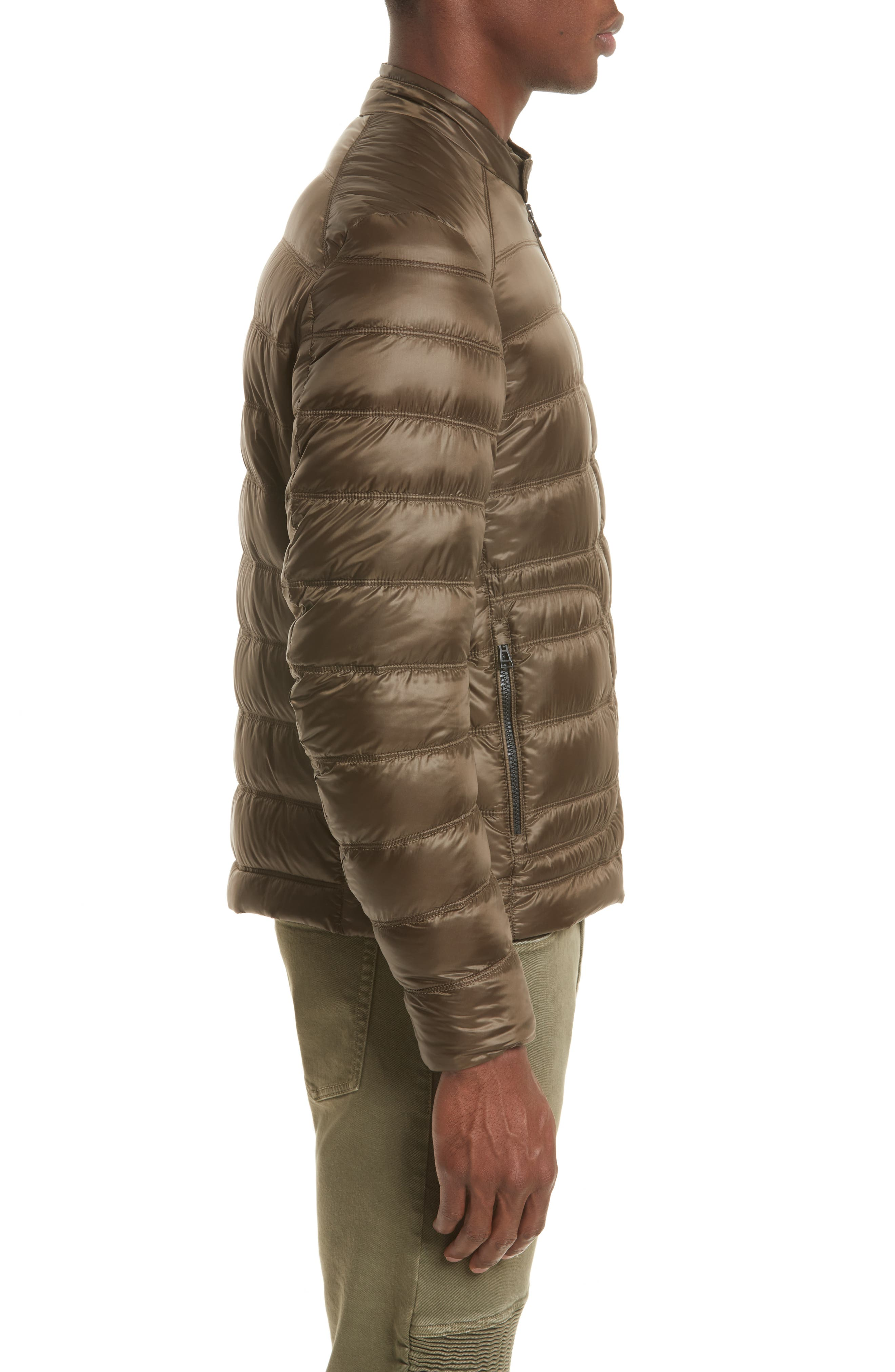 Halewood Quilted Down Jacket,                             Alternate thumbnail 3, color,                             Dark Moss Green