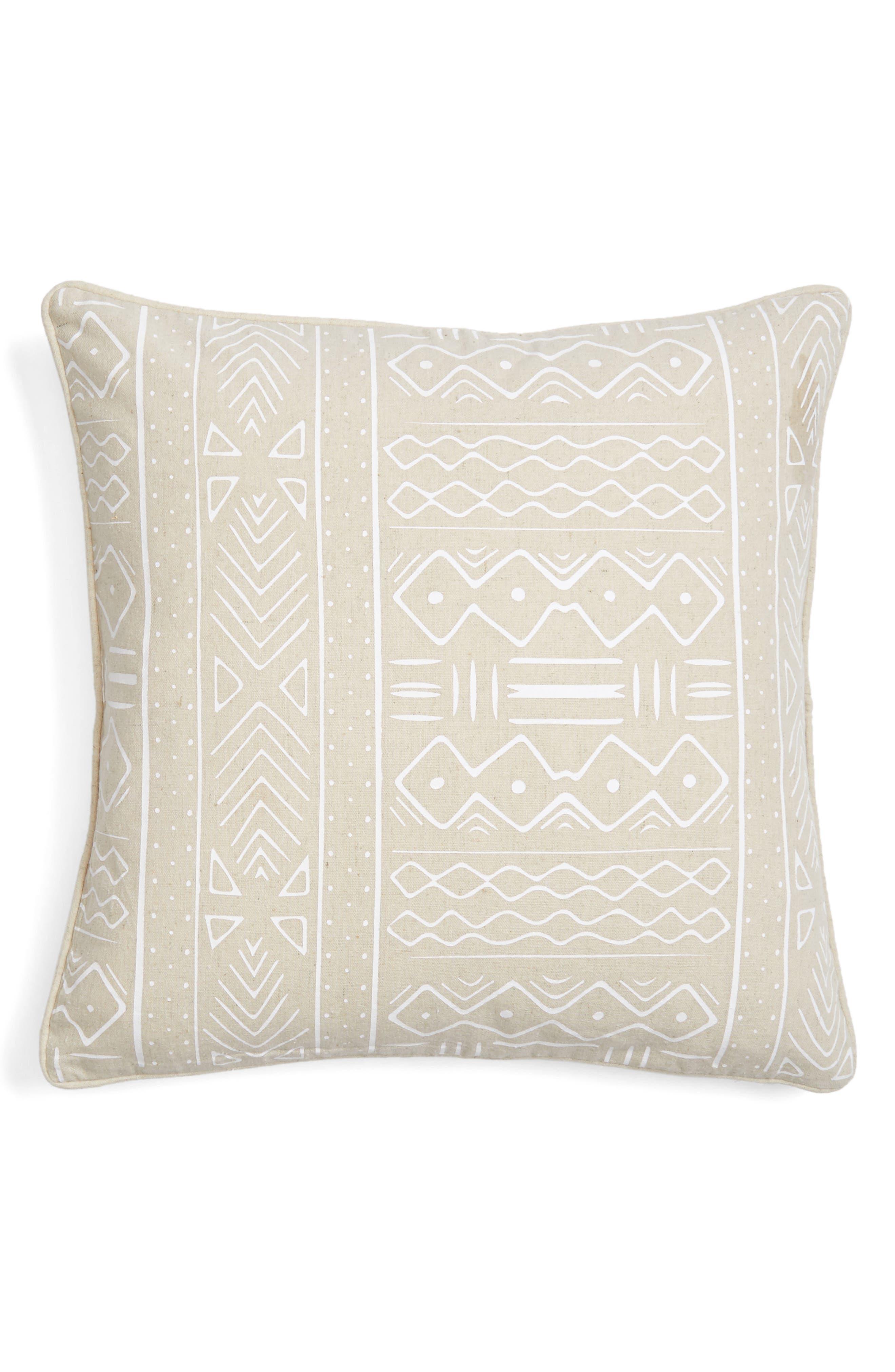 Pinch Mudcloth Pillow,                             Main thumbnail 1, color,                             Natural