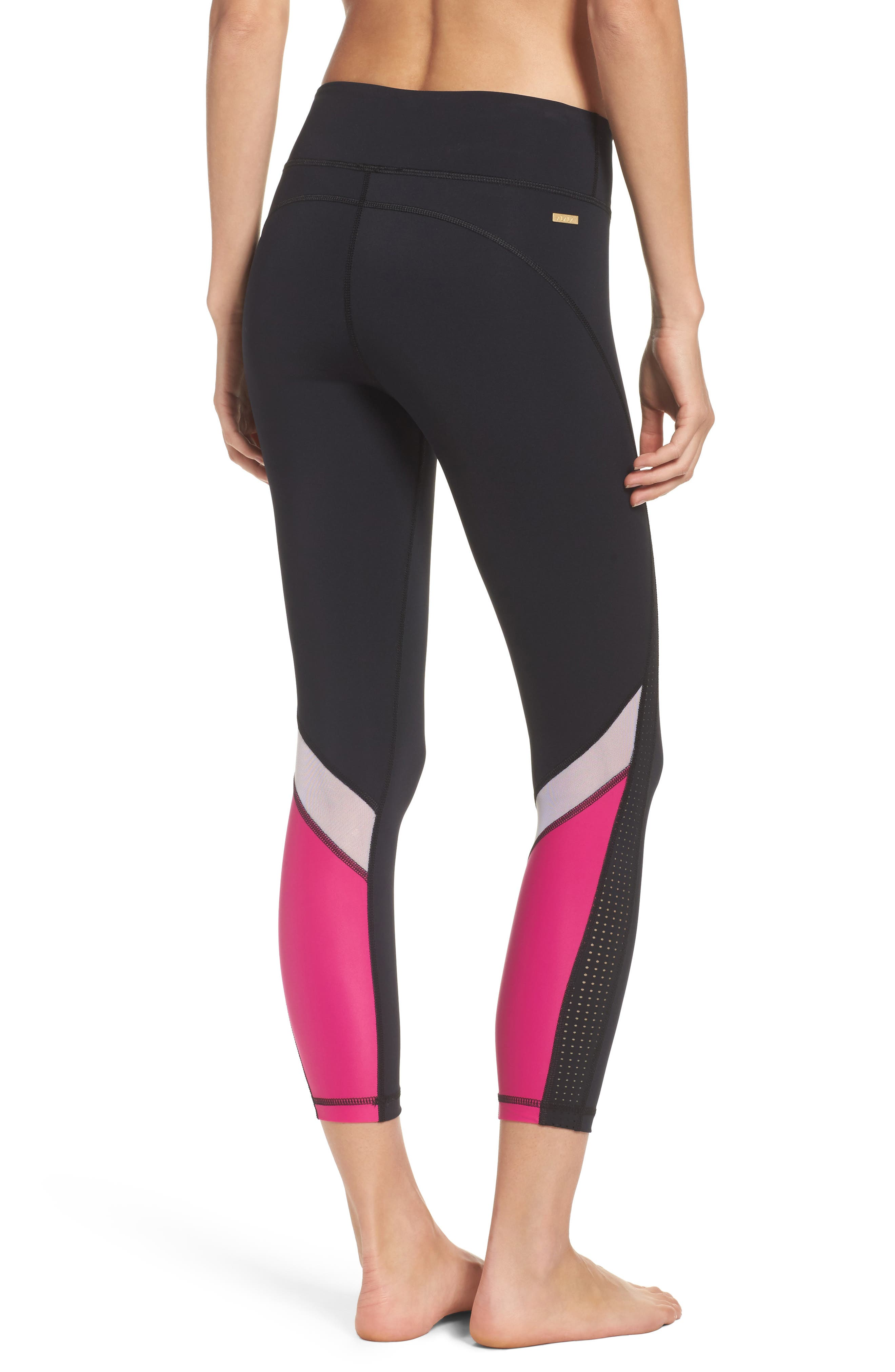 Heroine Performance Tights,                         Main,                         color, Black/ Hibiscus