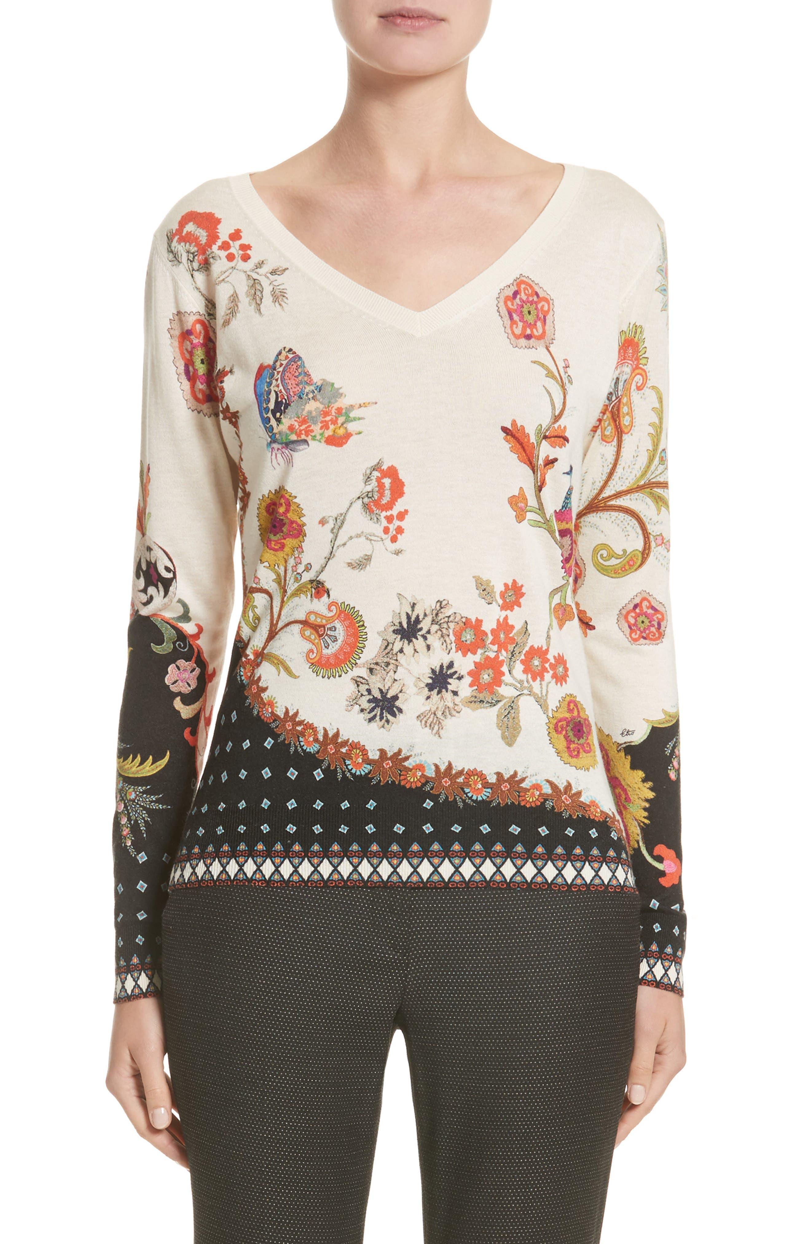 Etro Stampa Croce Silk & Cashmere V-Neck Sweater