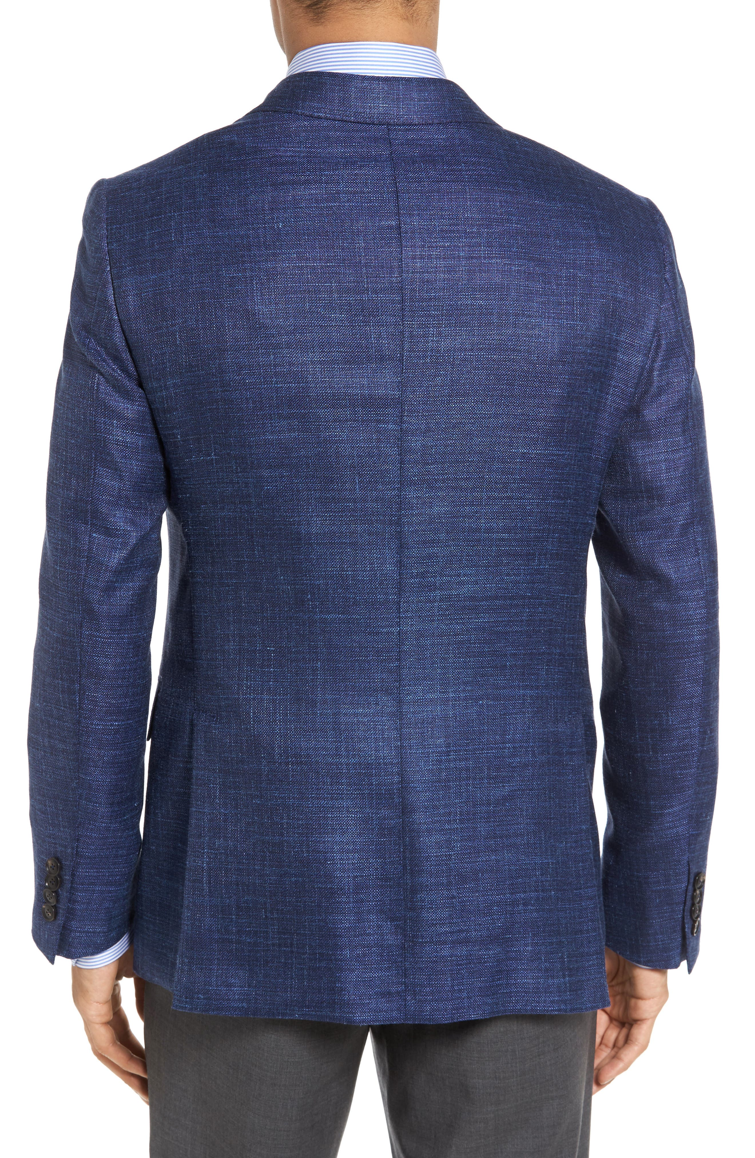 Plaid Wool Blend Blazer,                             Alternate thumbnail 2, color,                             Blue