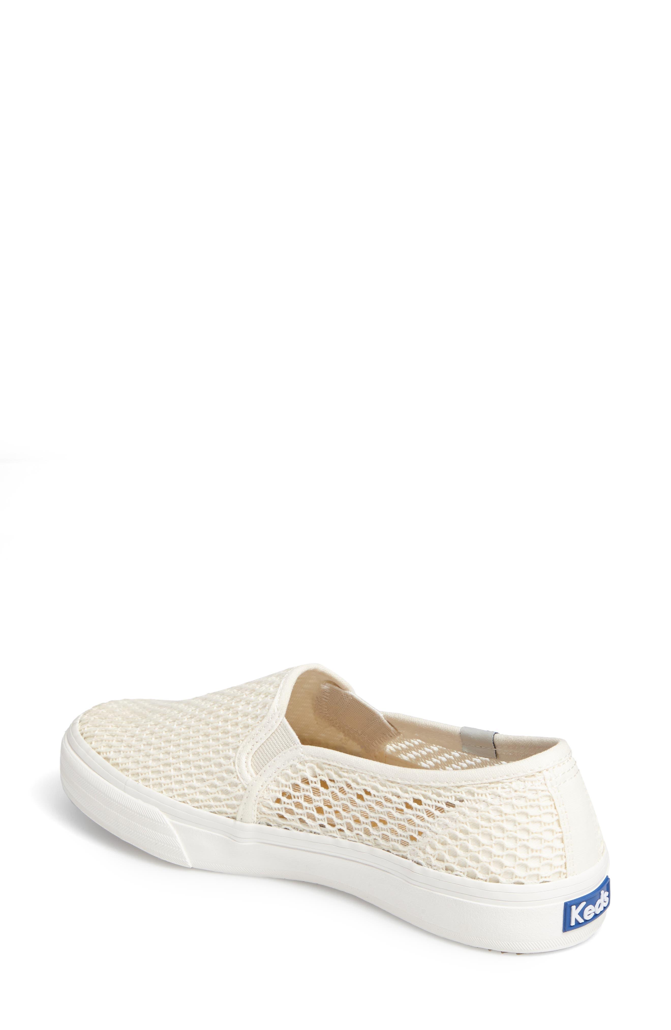 Double Decker Crochet Slip-On Sneaker,                             Alternate thumbnail 2, color,                             Cream