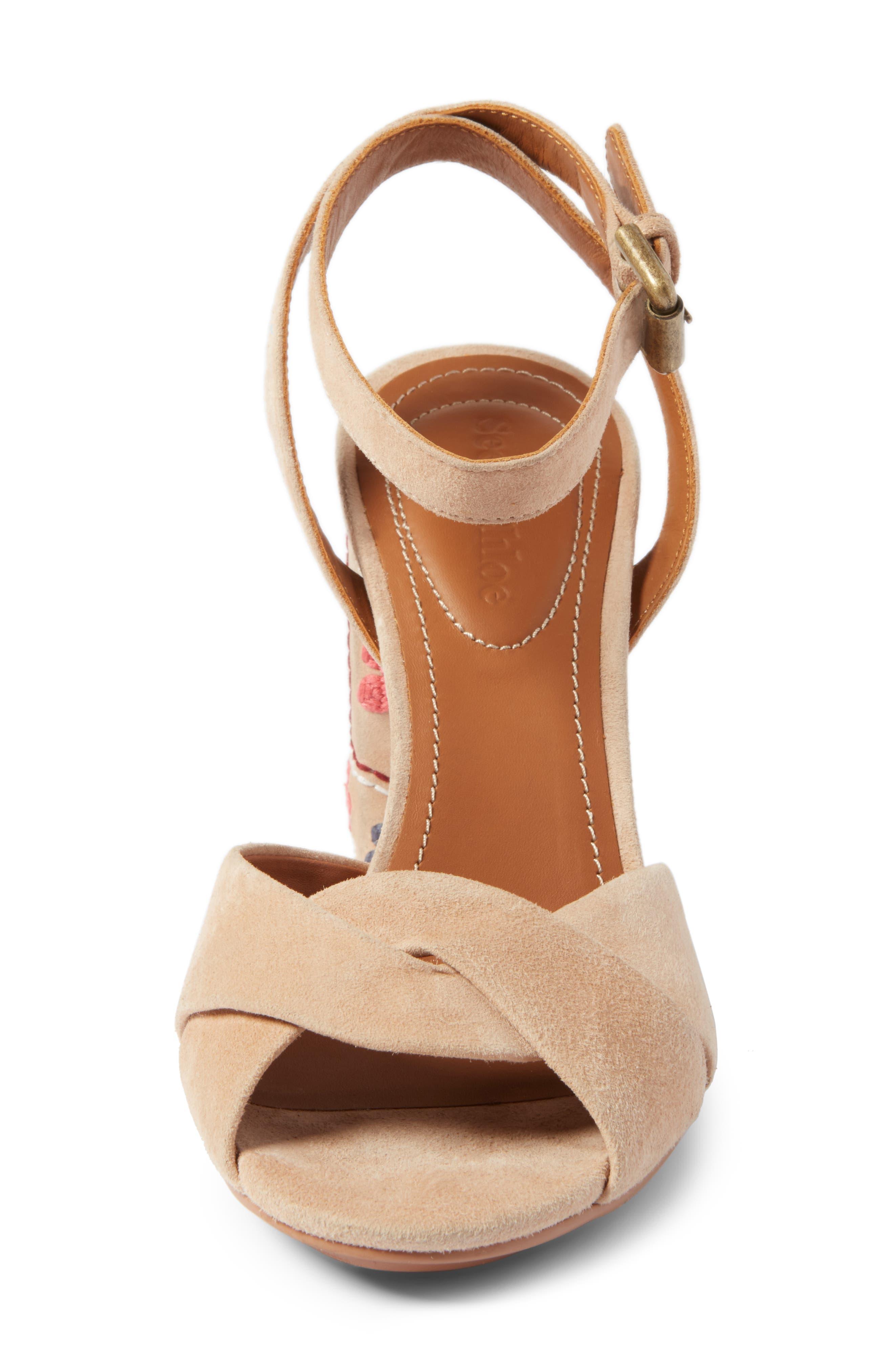 Gayla Embroidered Block Heel Sandal,                             Alternate thumbnail 4, color,                             Nude