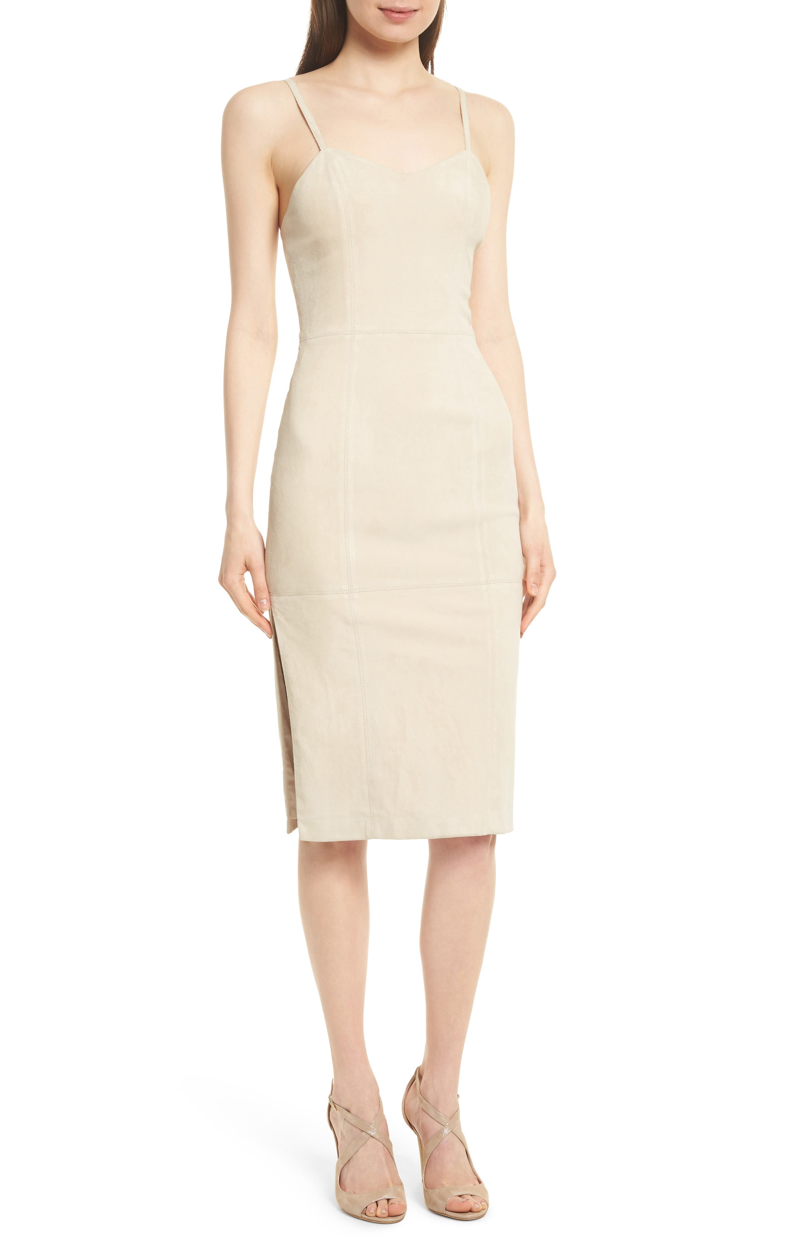 Rochell Suede Sheath Dress,                             Main thumbnail 1, color,                             Champagne