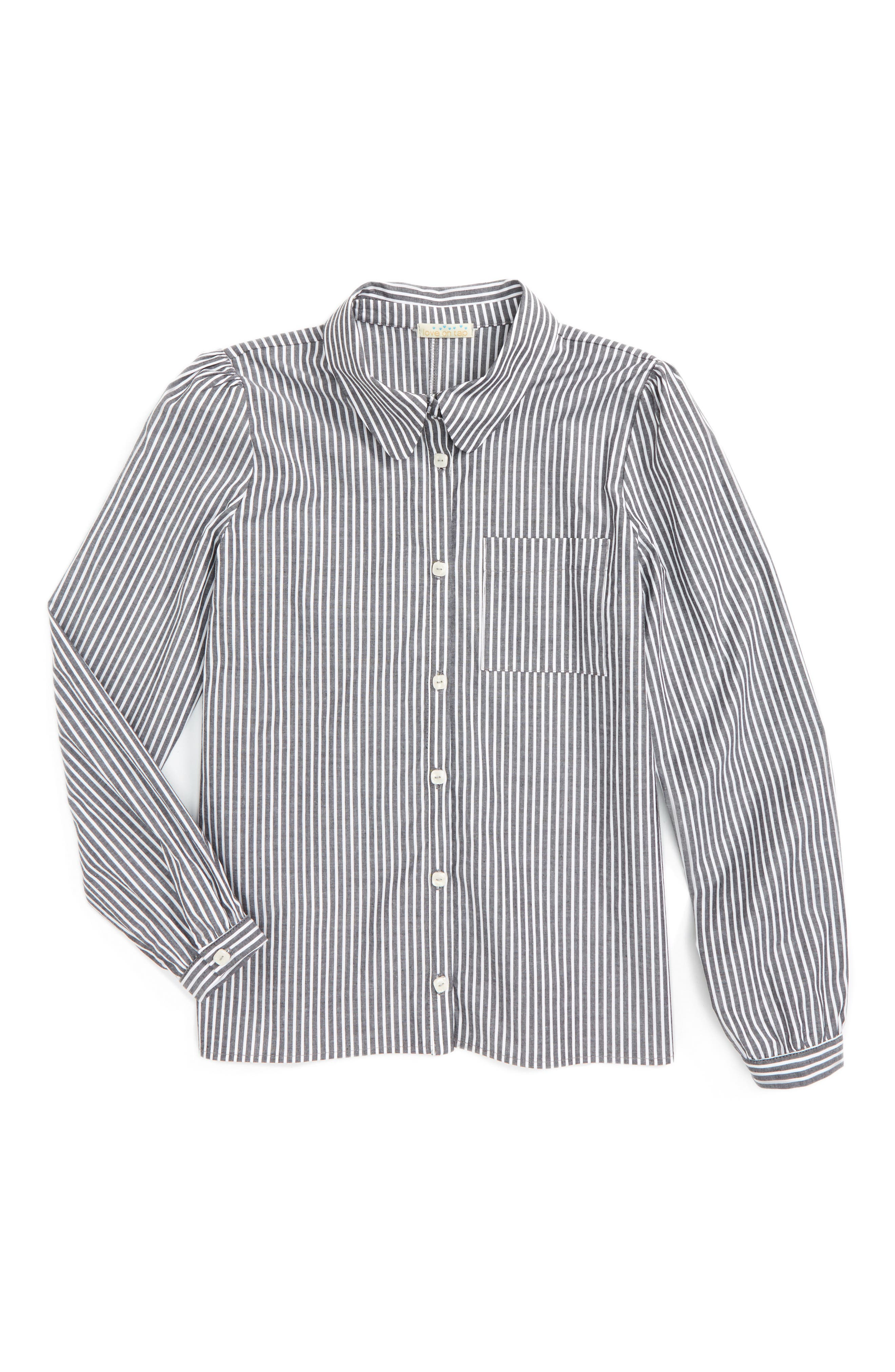 Love On Tap Stripe Stretch Cotton Shirt (Big Girls)