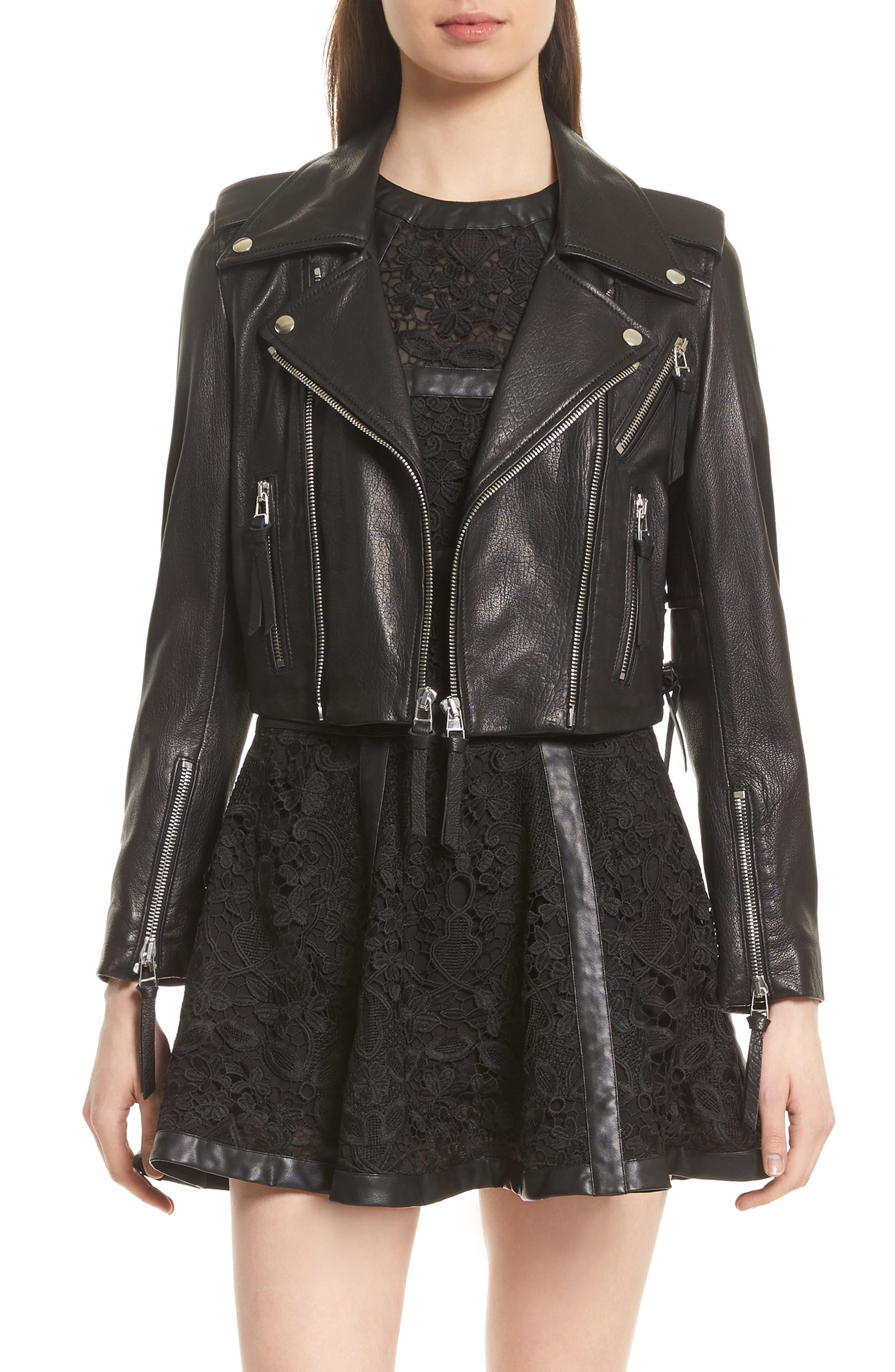 Lace-Up Lambskin Leather Jacket,                         Main,                         color, Black