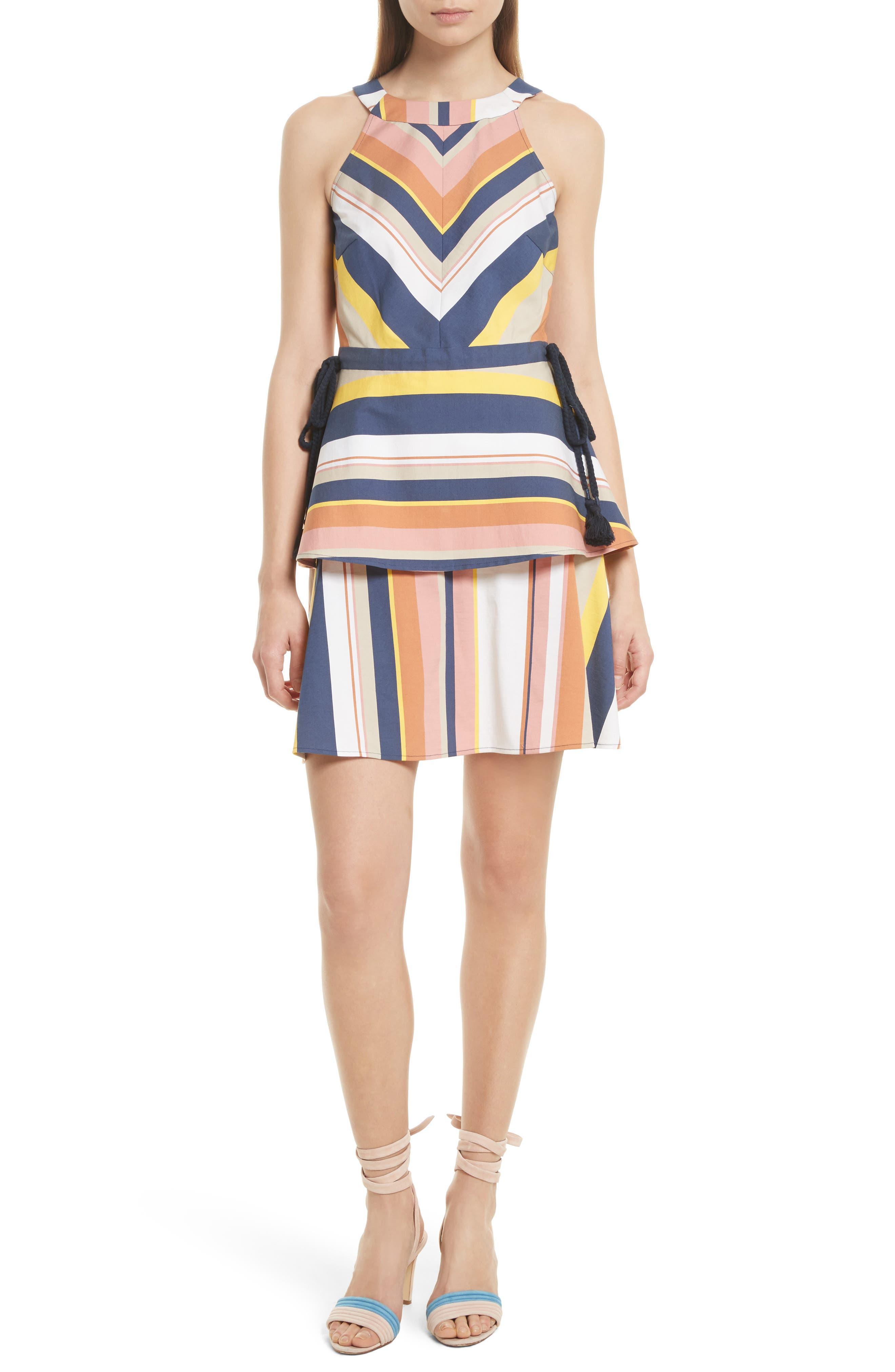 Noemi Stripe Dress,                         Main,                         color, Rust Multi
