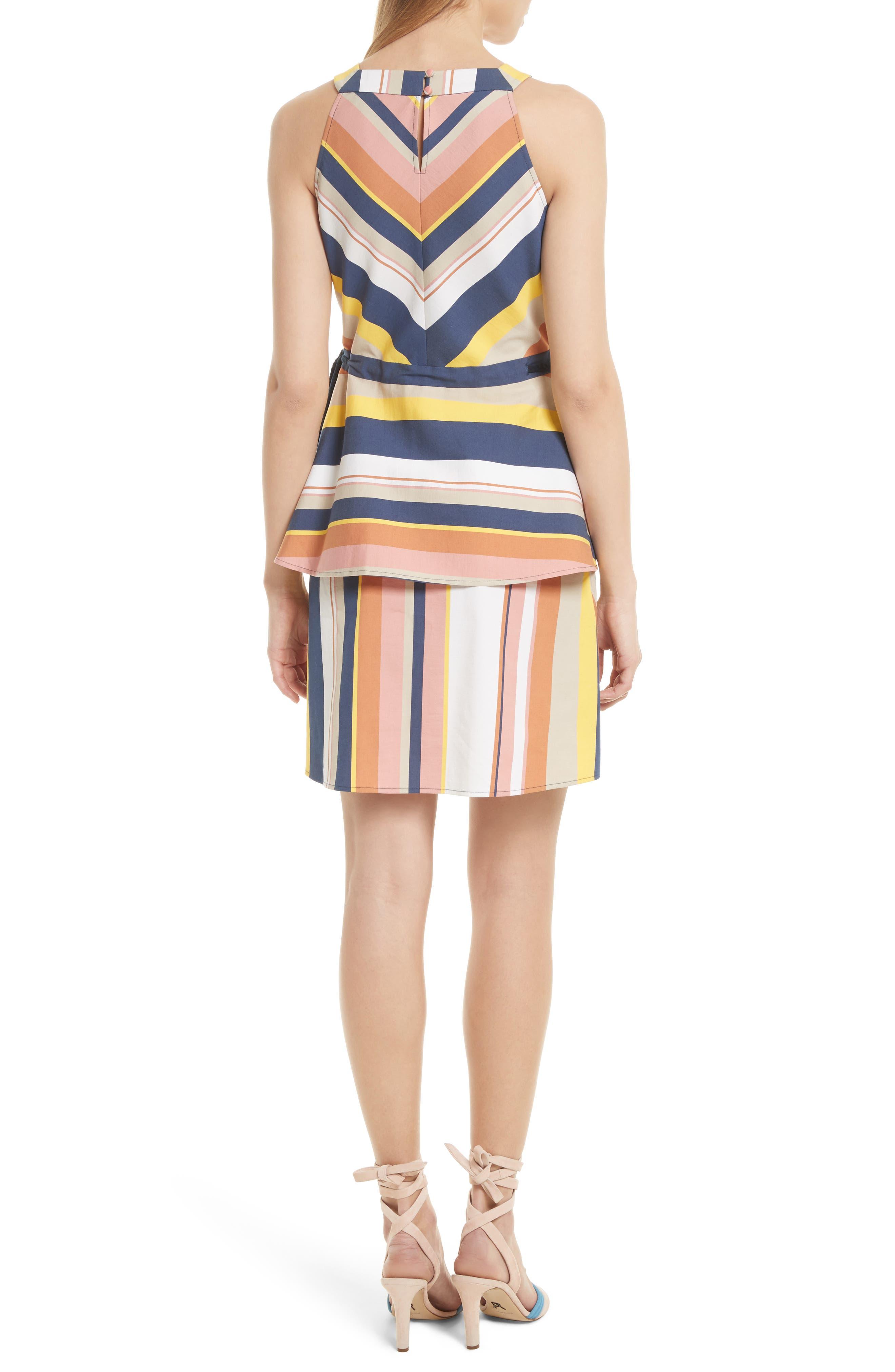 Noemi Stripe Dress,                             Alternate thumbnail 2, color,                             Rust Multi
