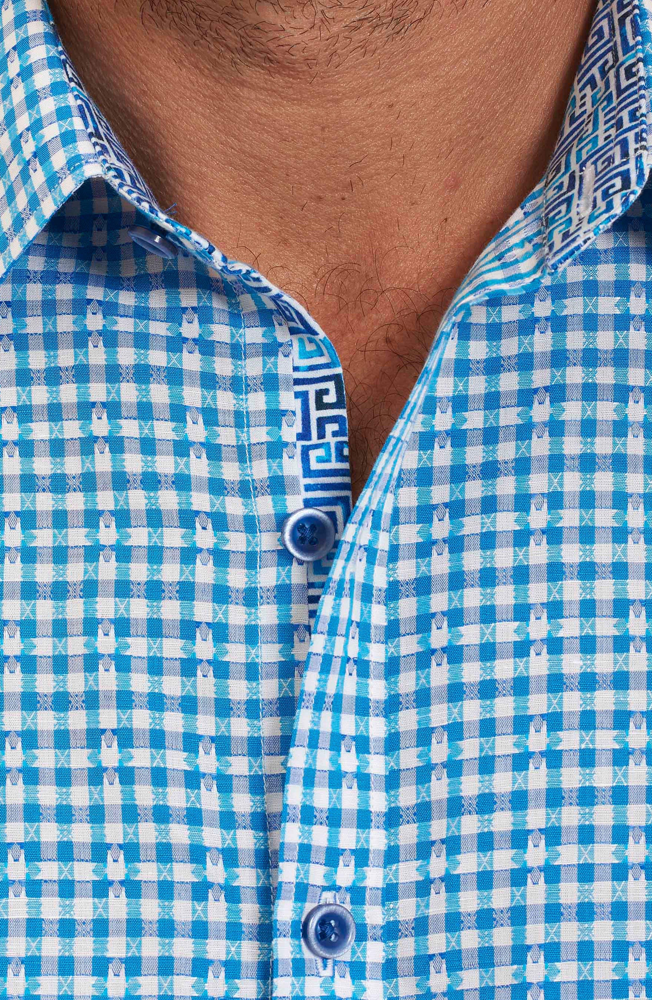 Alternate Image 5  - Robert Graham La Monica Classic Fit Gingham Linen & Cotton Sport Shirt