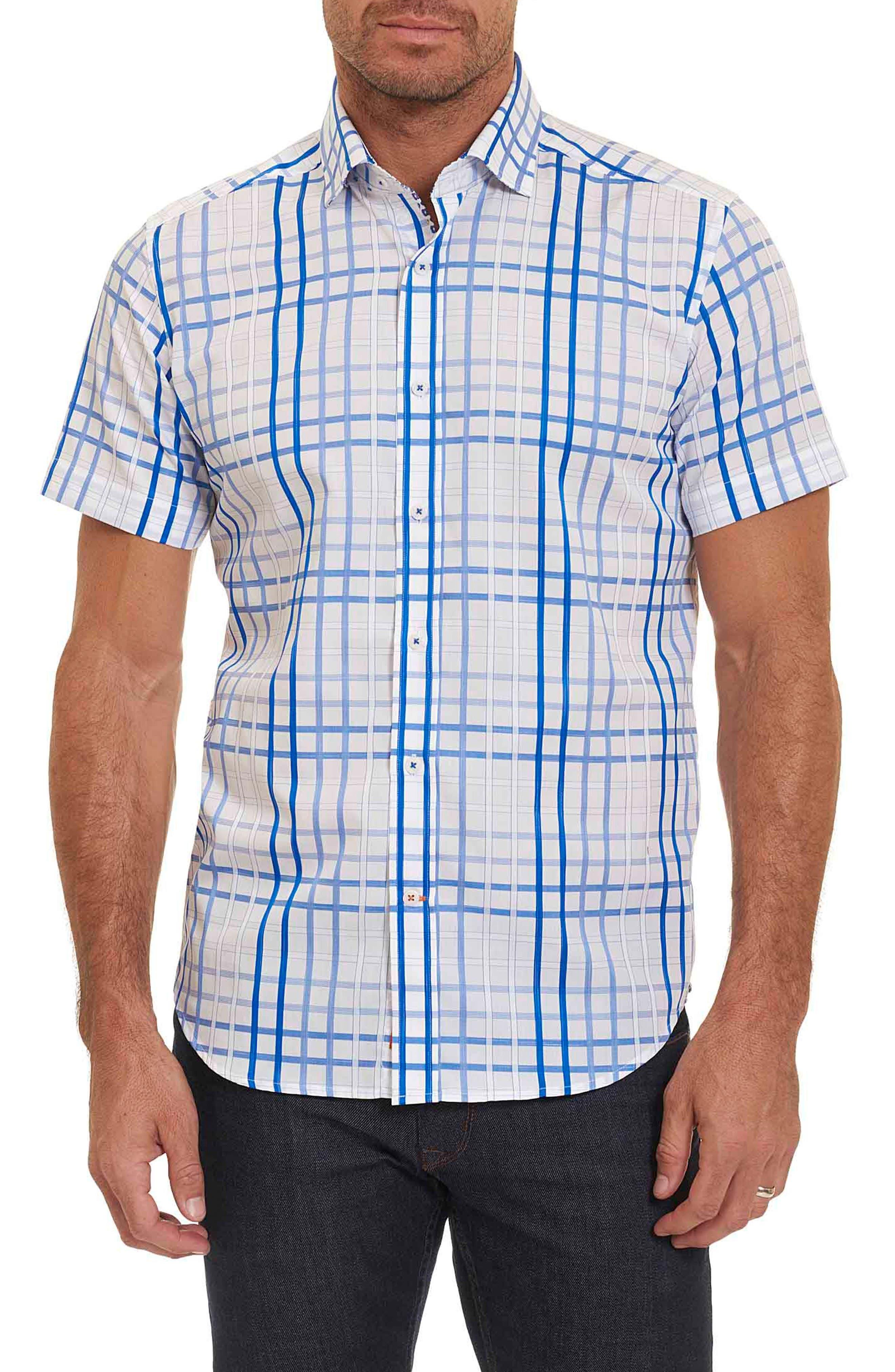 Dax Tailored Fit Check Short Sleeve Linen Sport Shirt,                             Main thumbnail 1, color,                             Blue