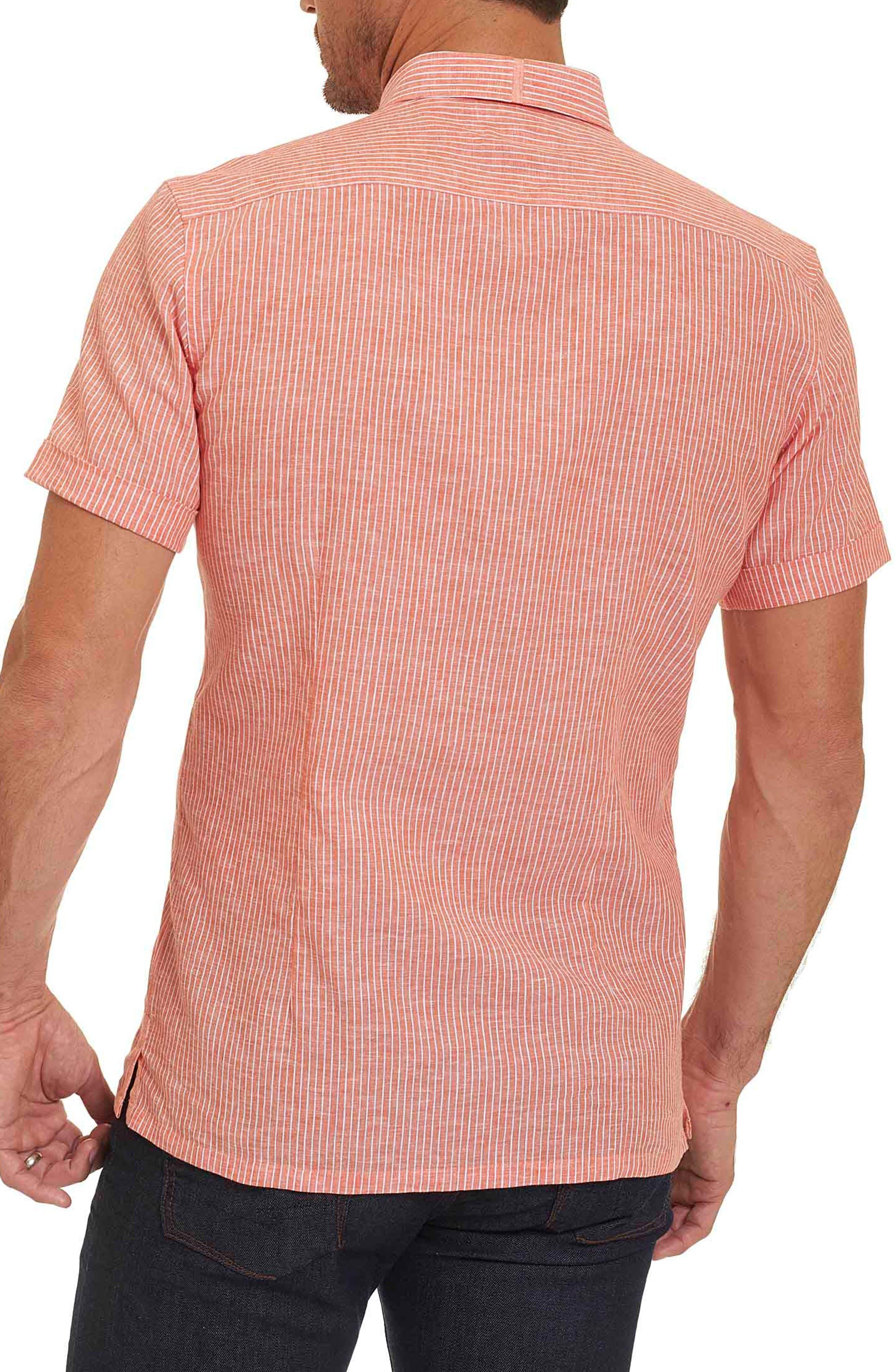 Alternate Image 2  - Robert Graham Tailored Fit Stripe Short Sleeve Sport Shirt