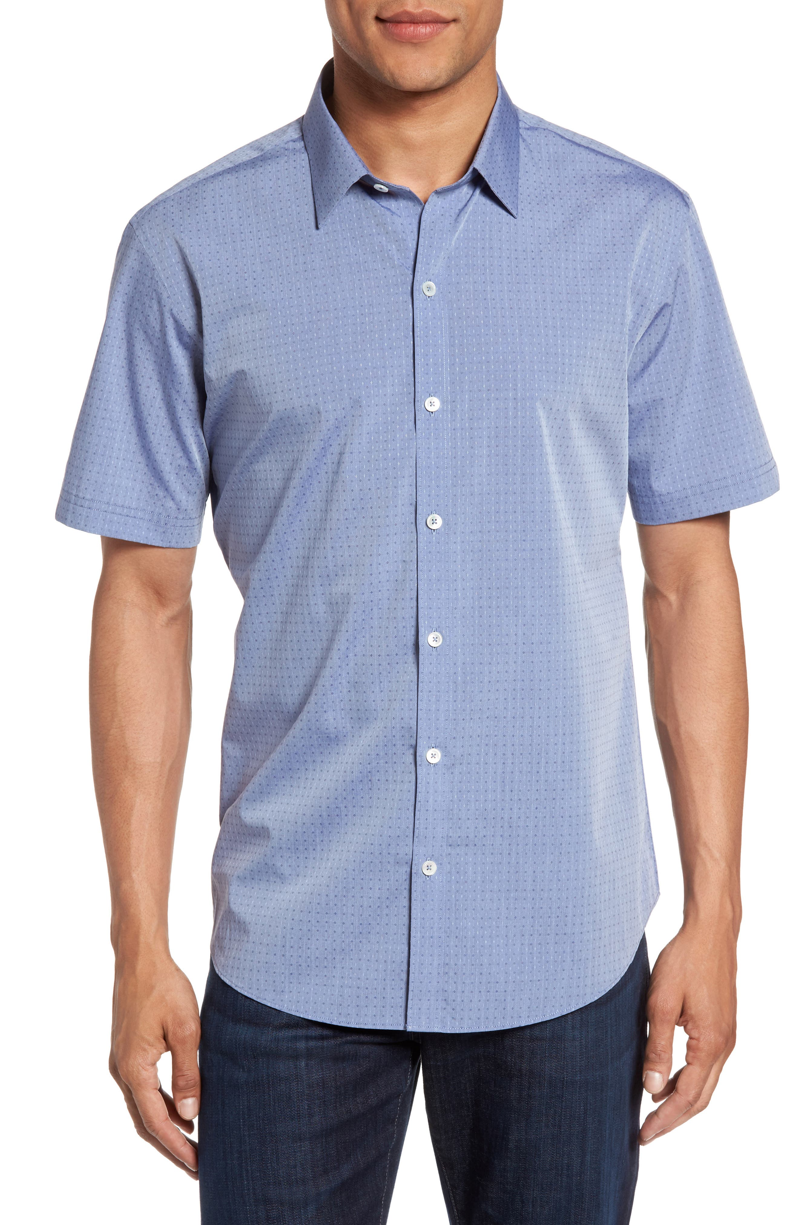 Diamond Print Short Sleeve Sport Shirt,                         Main,                         color, Blue