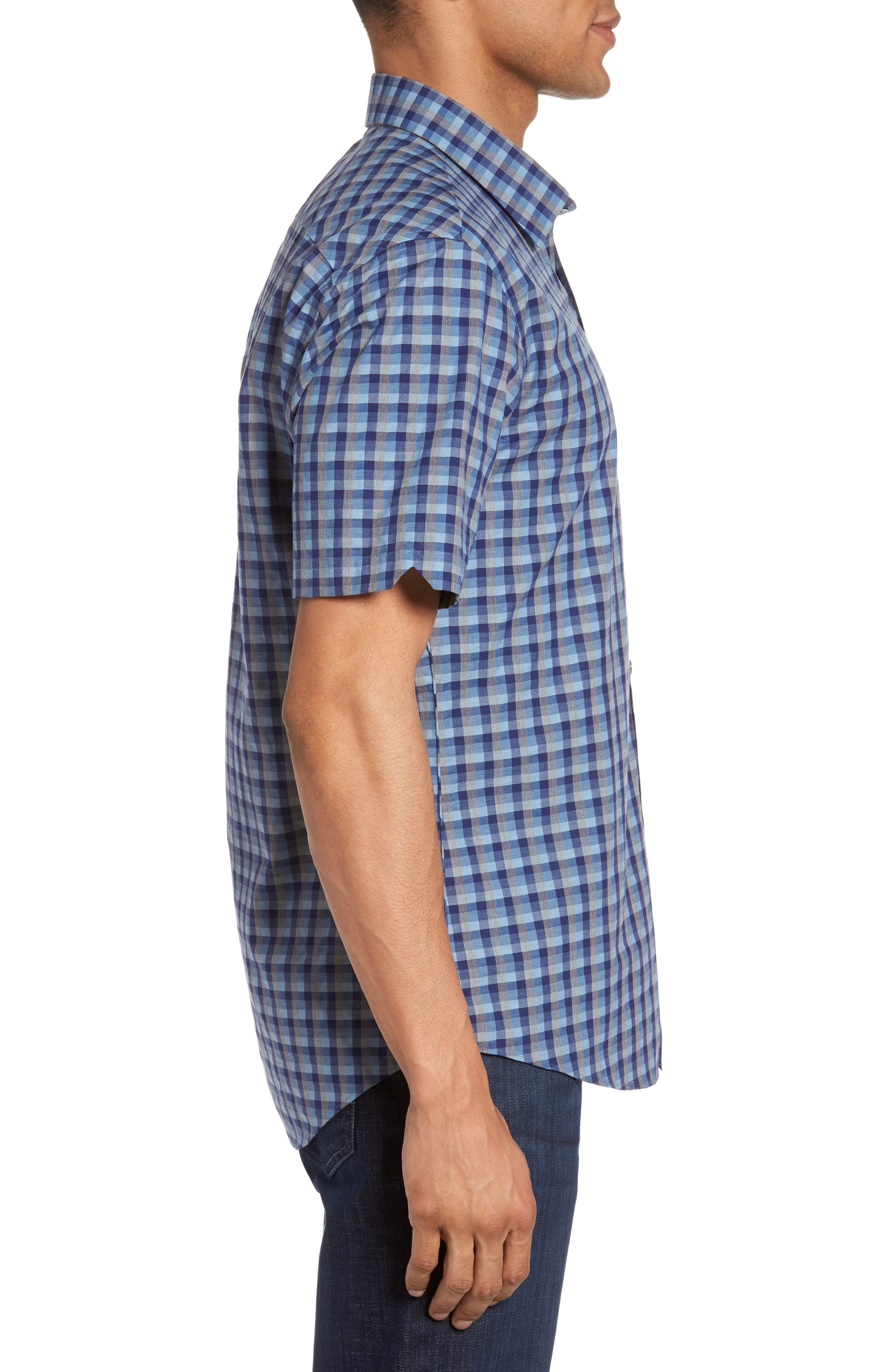 Check Short Sleeve Sport Shirt,                             Alternate thumbnail 4, color,                             Blue