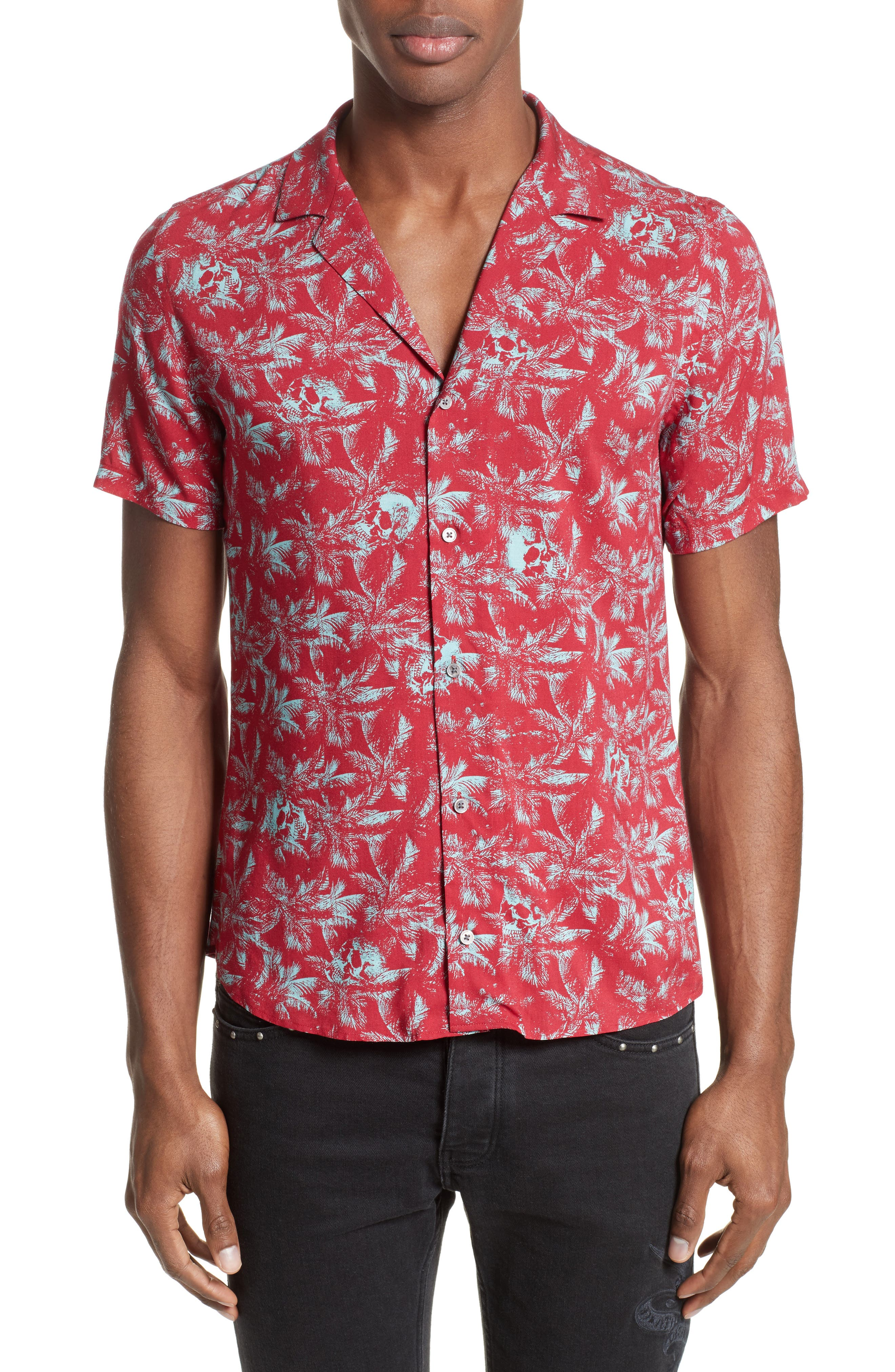 Hawaiian Collar Print Shirt,                         Main,                         color, Red