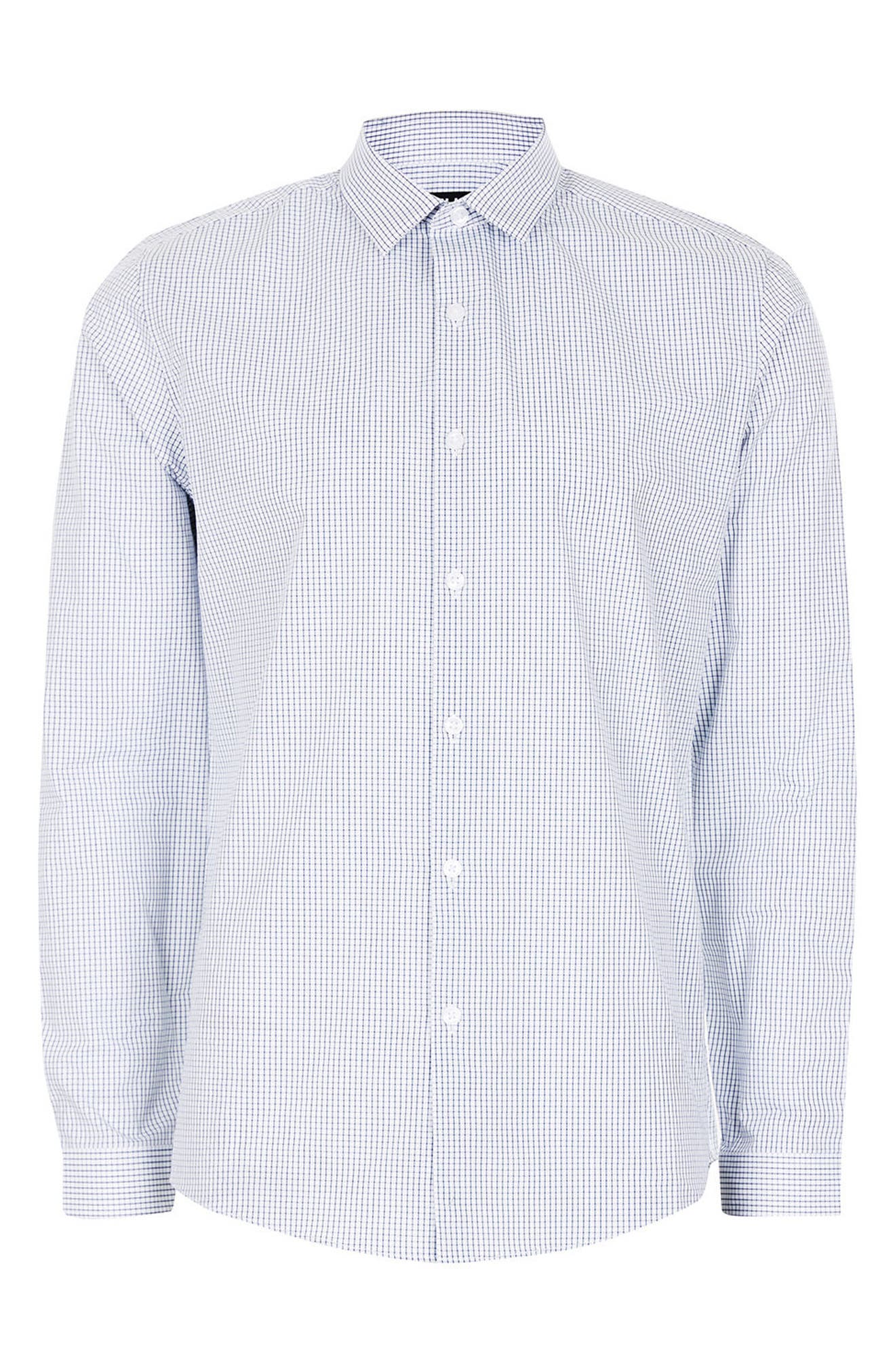 Alternate Image 7  - Topman Slim Fit Grid Check Dress Shirt