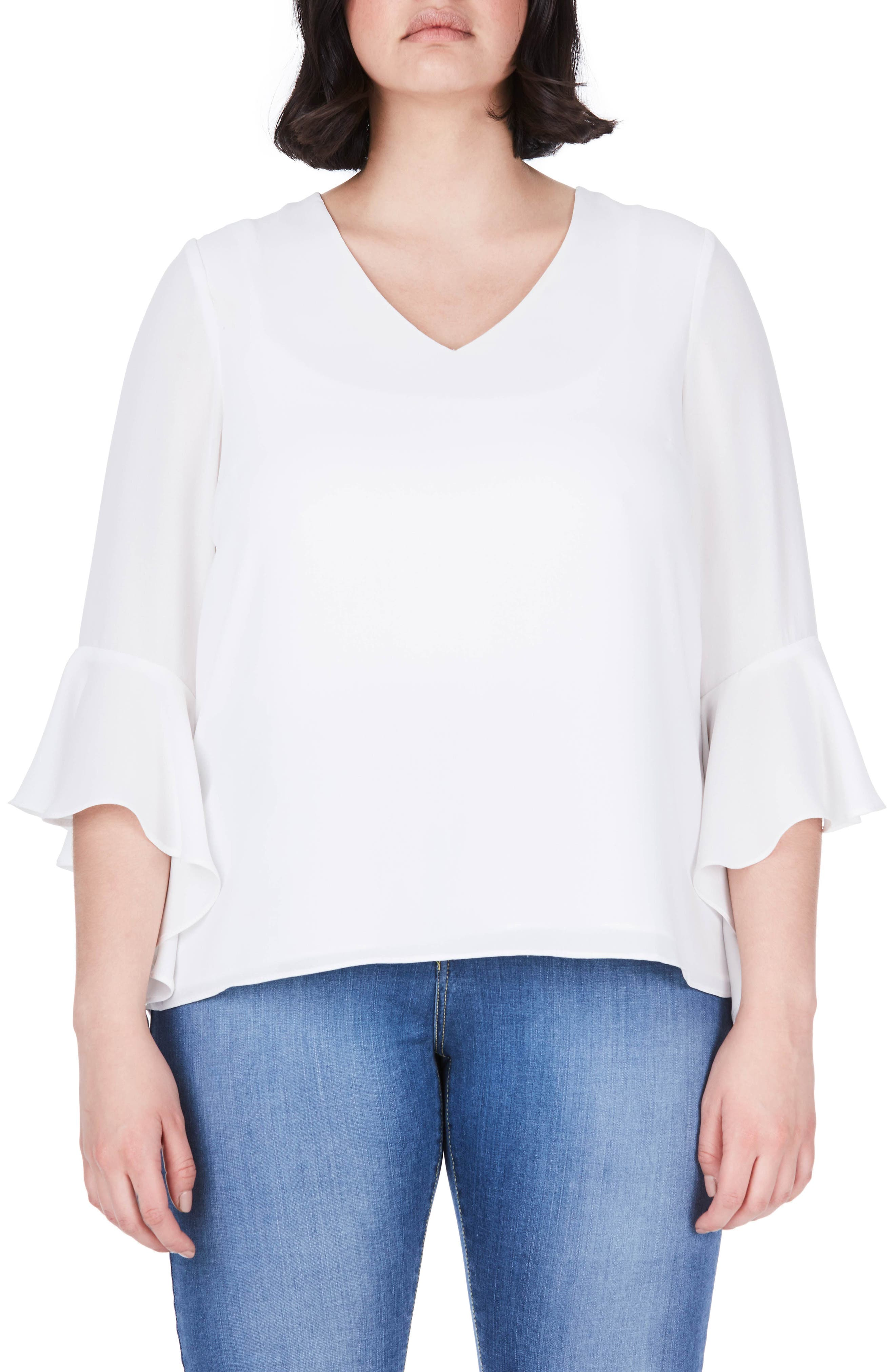 Bell Sleeve Top,                         Main,                         color, White